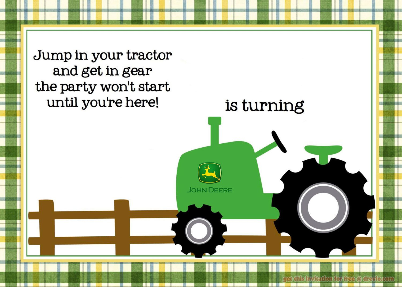 Free Printable John Deere Tractor Birthday - Free Printable John Deere Baby Shower Invitations