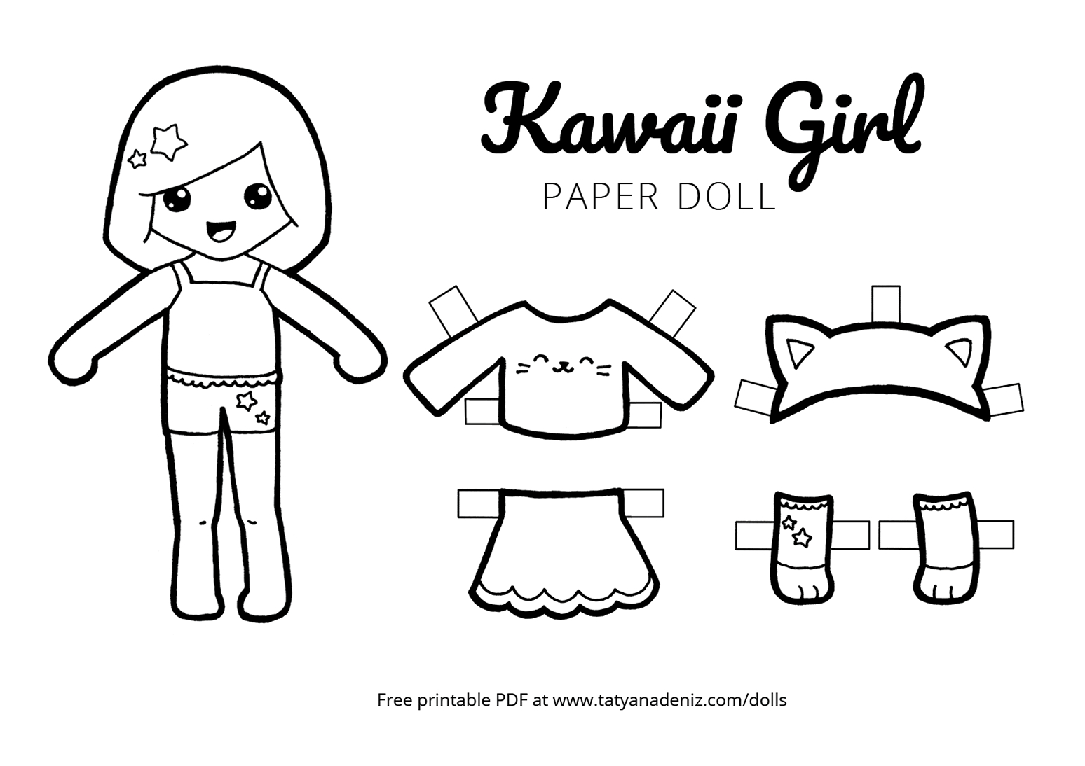 photo about Printable Paper Dolls called Cost-free Printable Kawaii Paper Dolls Colouring Internet pages - No cost