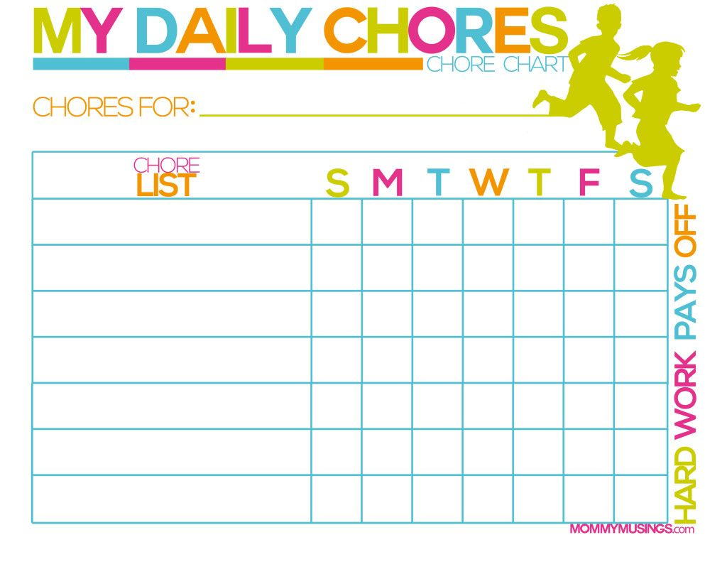 Free Printable Kids Chore & Rewards Chart | House Ideas | Pinterest - Free Printable Charts For Kids