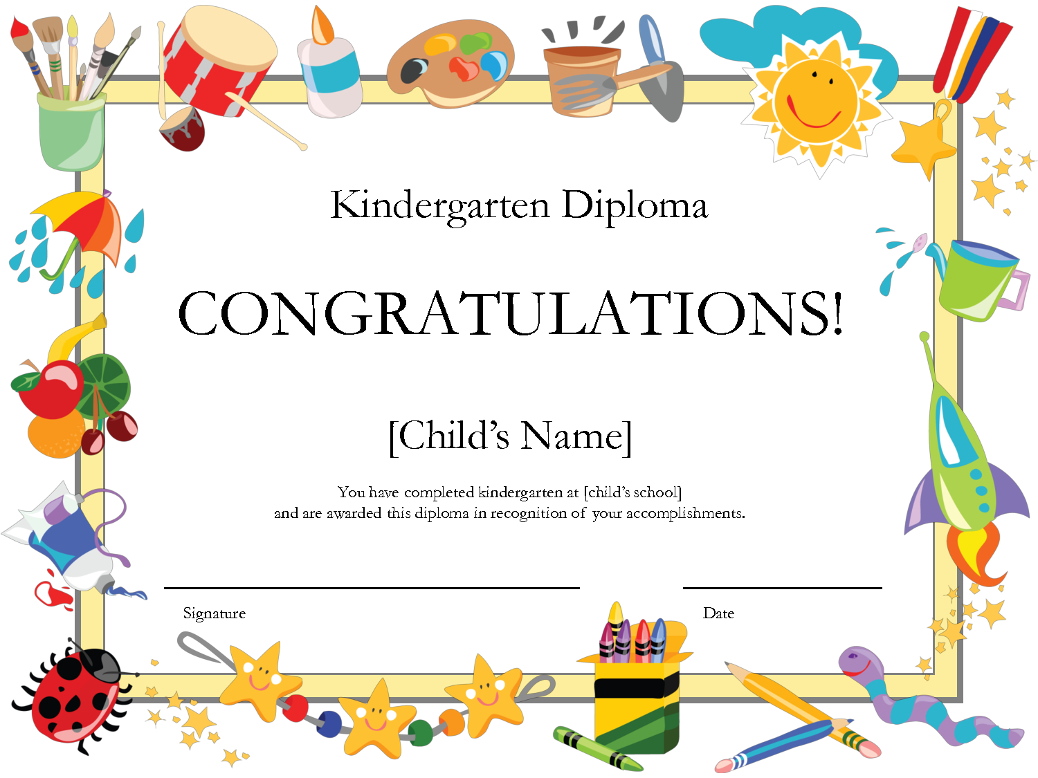 Free Printable Kindergarten Graduation Certificate Template | Umi - Free Printable School Certificates Templates