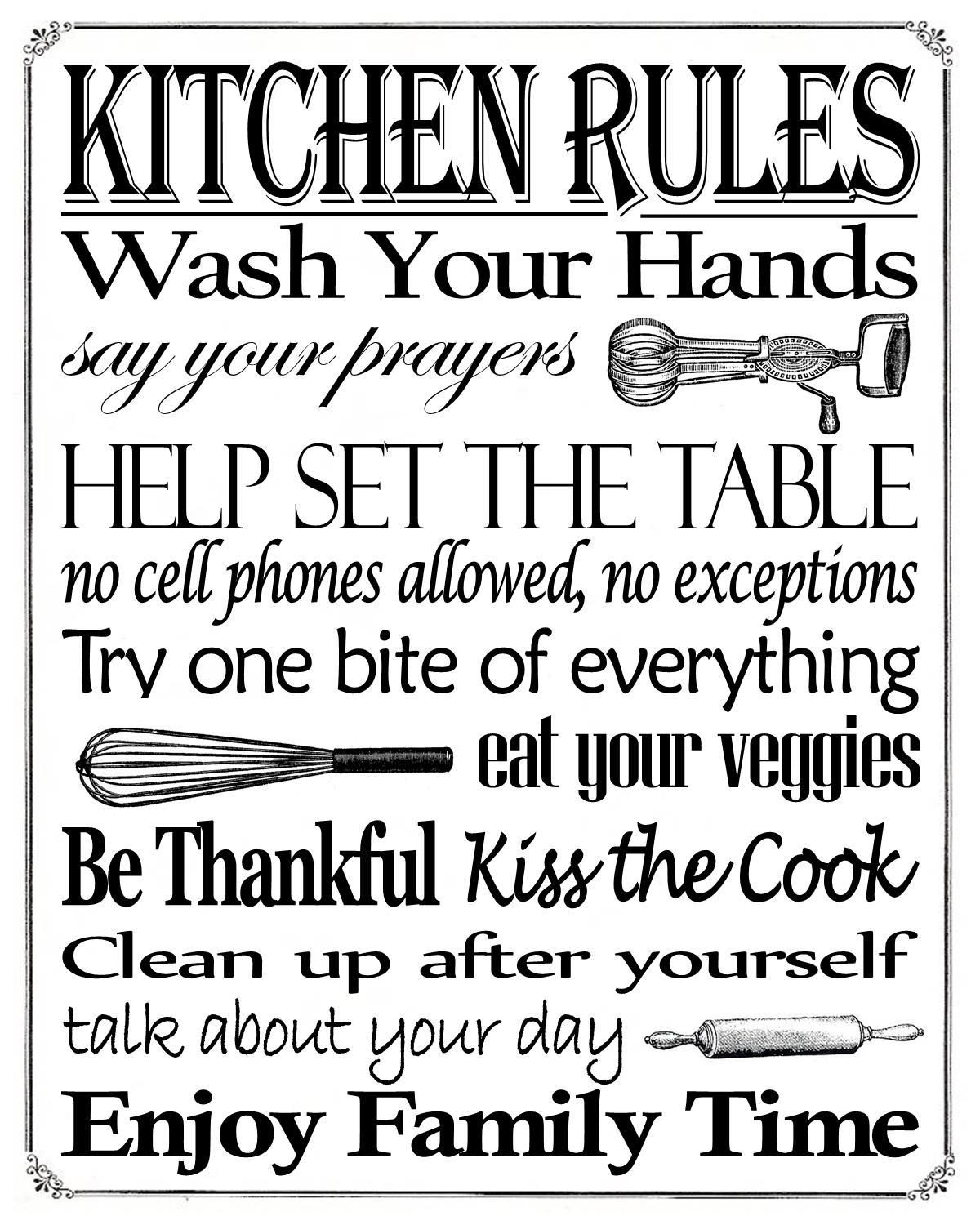"""Free Printable """"kitchen Rules"""" 8"""" X 10"""" Sign   Misc In 2019 - Free Printable Do Not Flush Signs"""