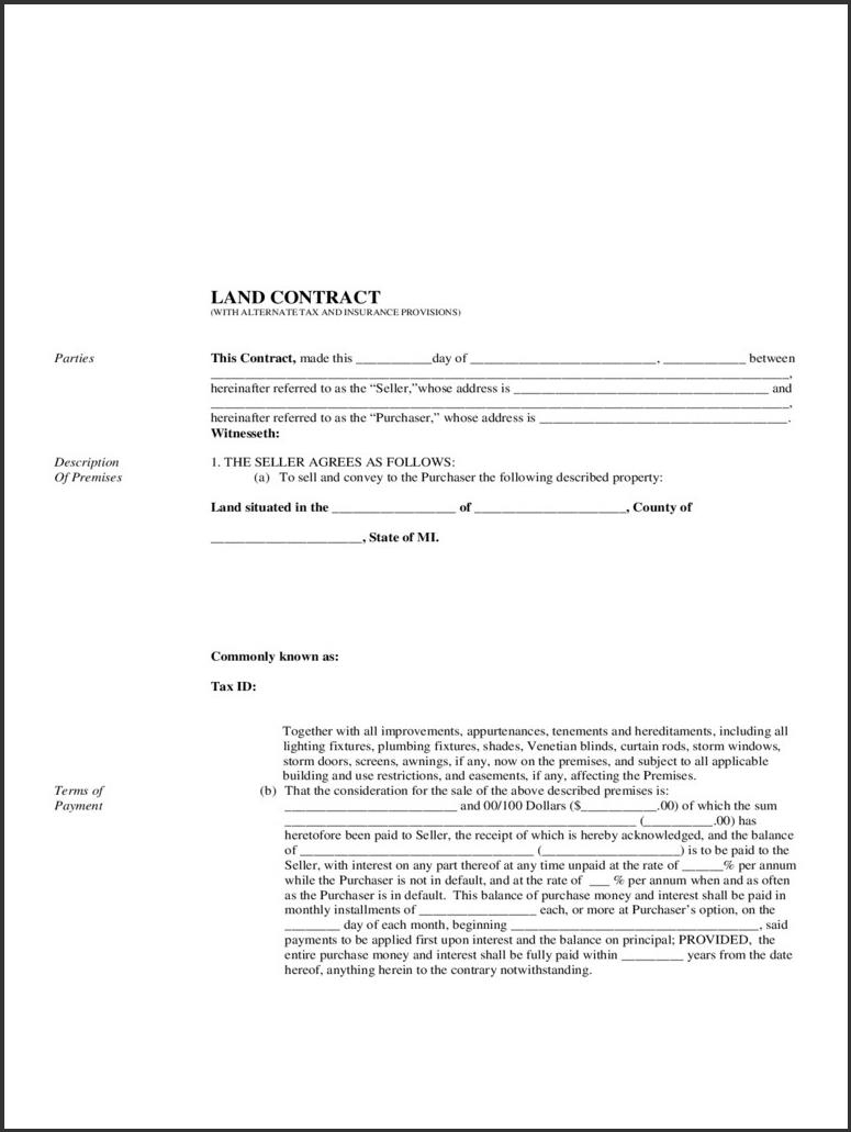 Free Printable Land Contract Forms #789 - Ocweb - Free Printable Land Contract Forms