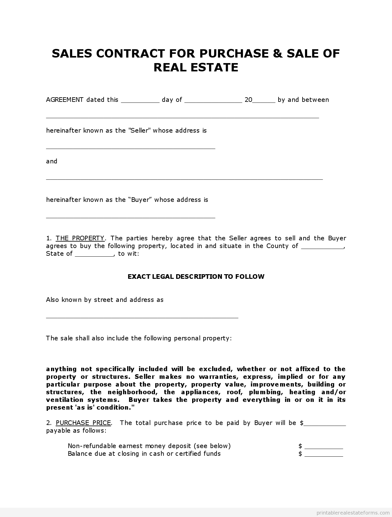Free Printable Land Contract Forms (Word File) - Free Printable Land Contract Forms