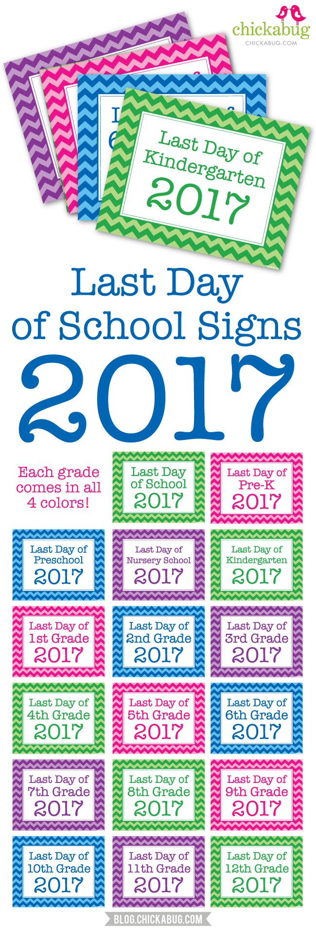 Free Printable Last Day Of School Signs 2017 | Chickabug - Free Printable First Day Of School Signs 2017