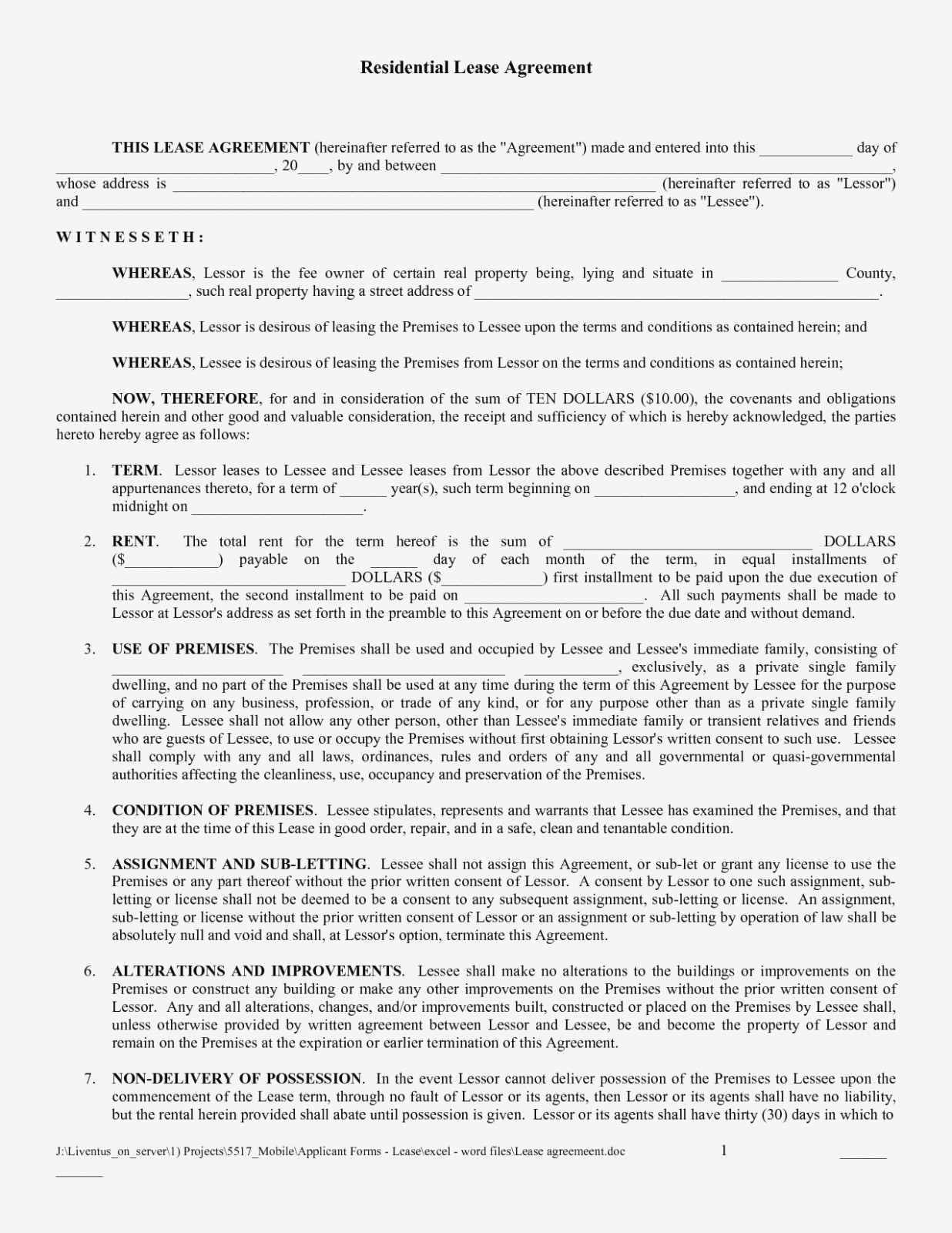 Free Printable Lease Agreement | Bravebtr – Blank Lease Agreement - Free Printable Lease Agreement Forms
