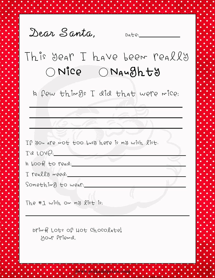 Free Printable Letter To Santa Template Samples | Letter Template - Free Santa Templates Printable