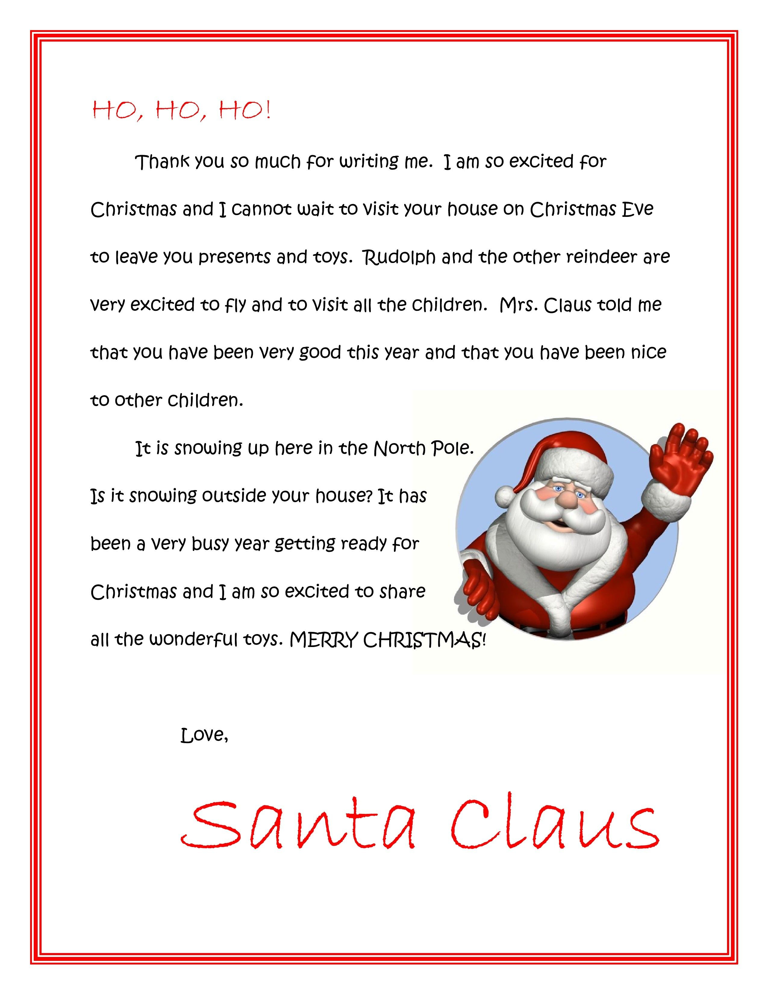 Free Printable Letters From Santa Or Letters To Santa, Downloadable - Free Printable Christmas Letters