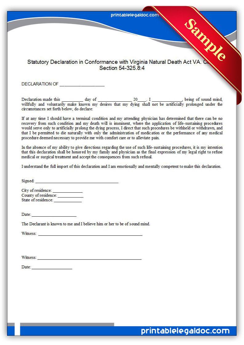 Free Printable Life Sustaining Statute, Virginia Legal Forms   Free - Free Legal Forms Online Printable