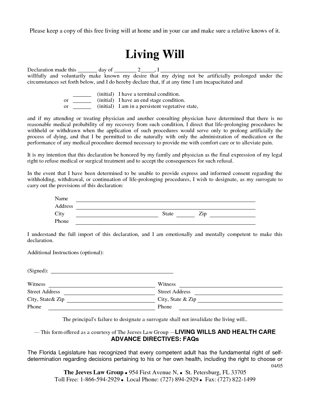 Free Printable Living Will Form Louisiana - 7.11.hus-Noorderpad.de • - Free Printable Living Will