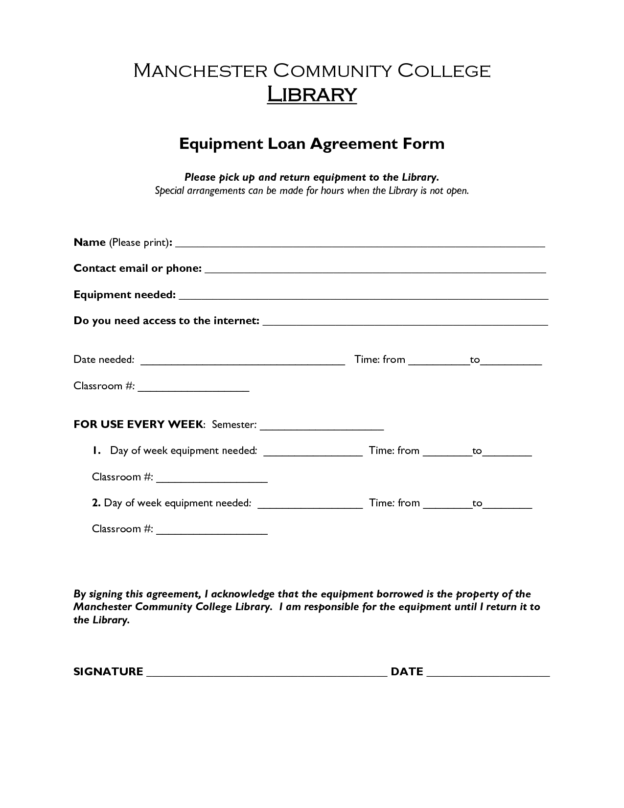 Free Printable Loan Agreement Form Form (Generic) Throughout - Free Printable Loan Forms