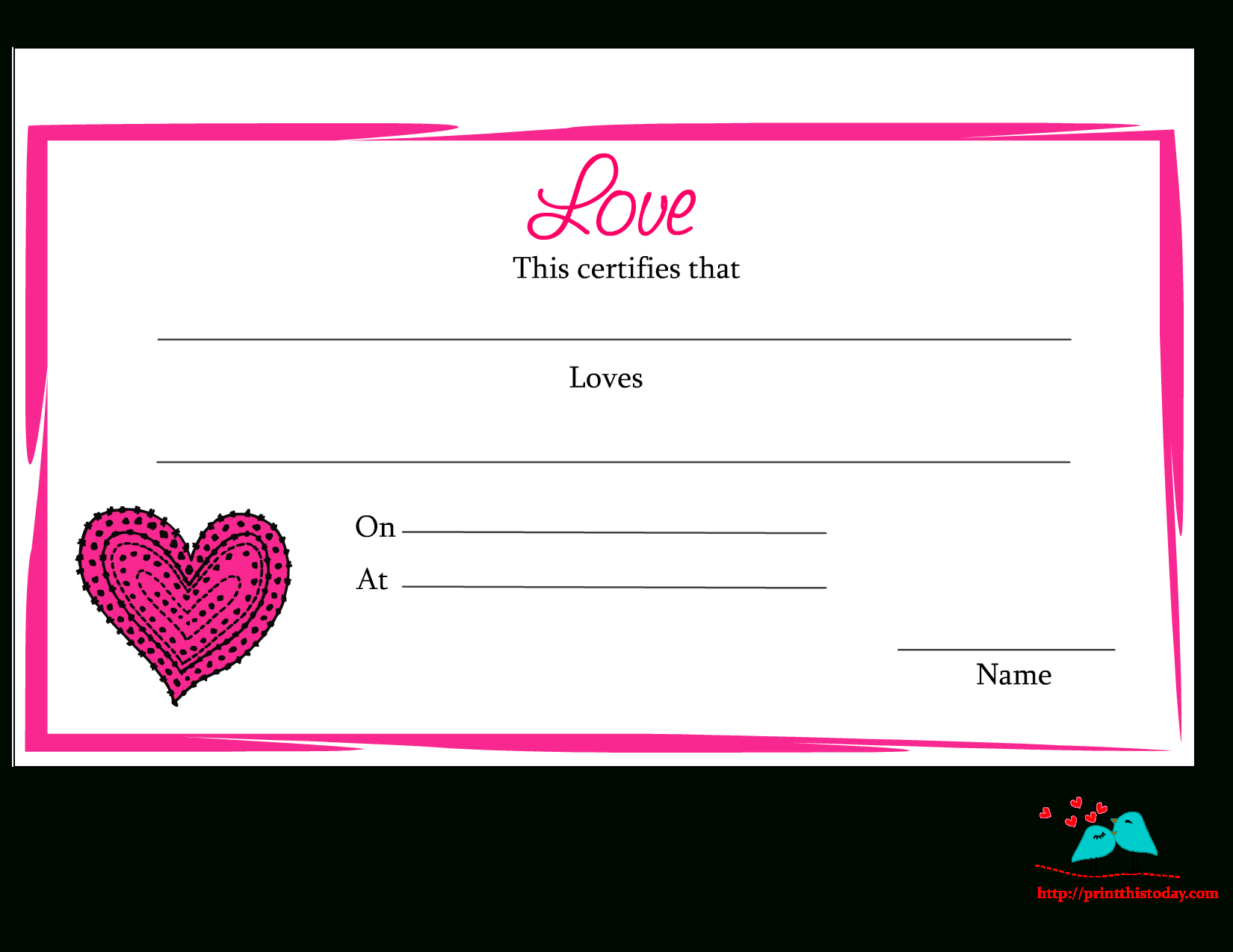 Free Printable Love Certificate   For The Holidays - Free Printable Love Certificates For Him