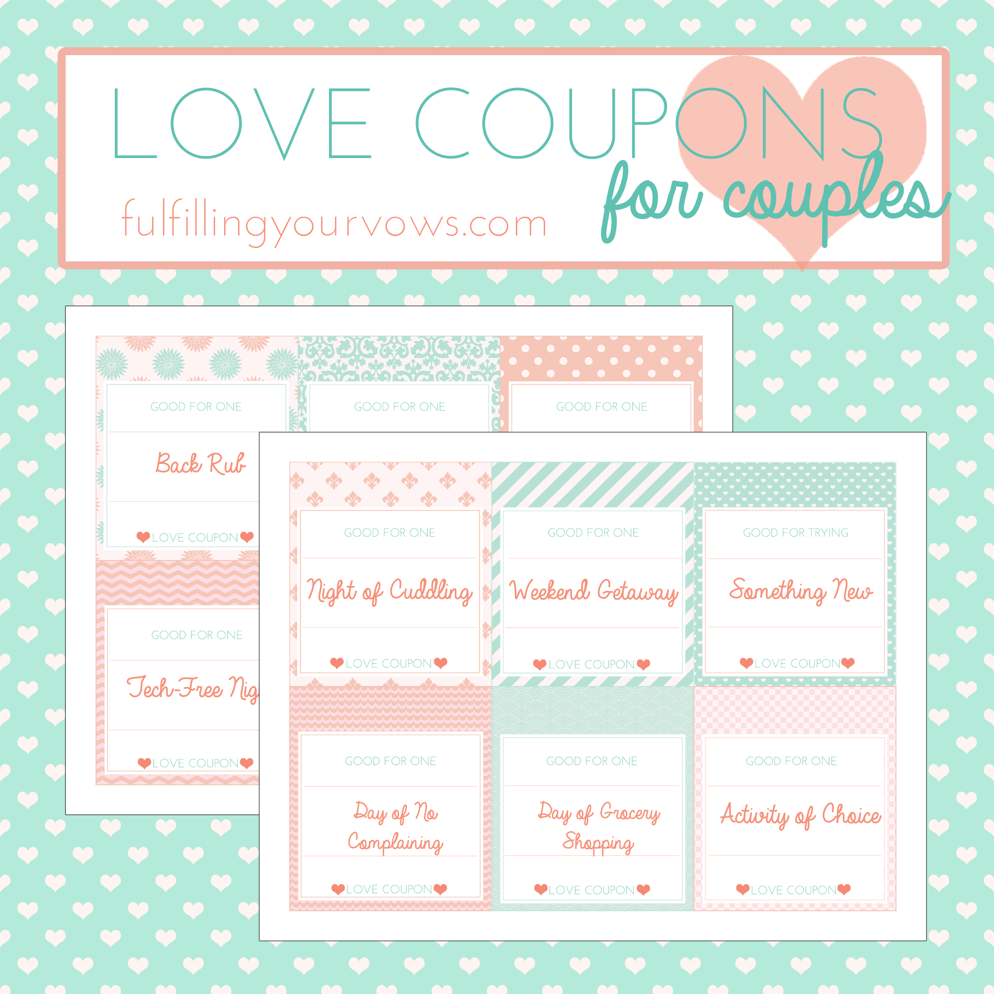 Free Printable Love Coupons For Couples - Fulfilling Your Vows - Free Printable Love Coupons For Wife