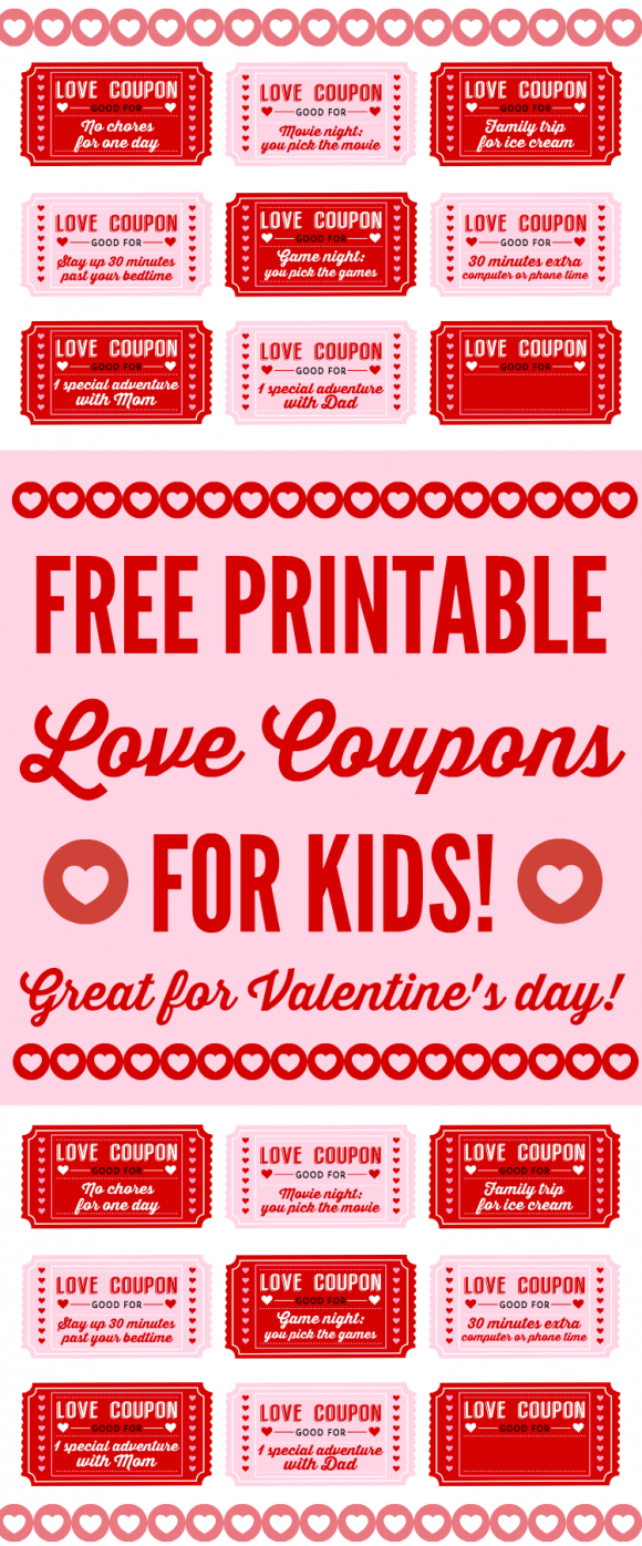 Free Printable Love Coupons For Kids On Valentine's Day - Free Printable Love Coupons For Wife