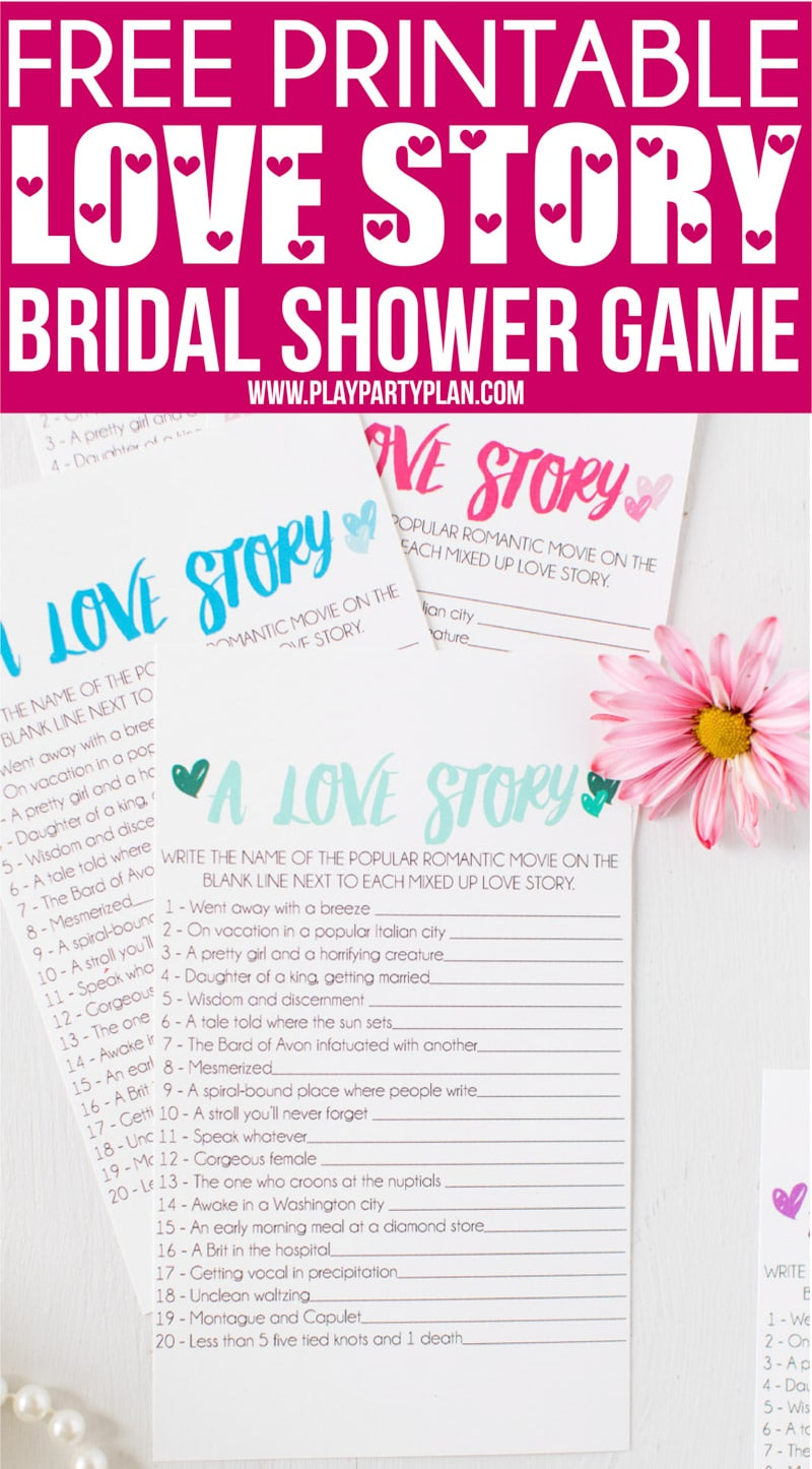 Free Printable Love Story Bridal Shower Game - Play Party Plan - Free Printable Bridal Shower Games And Activities