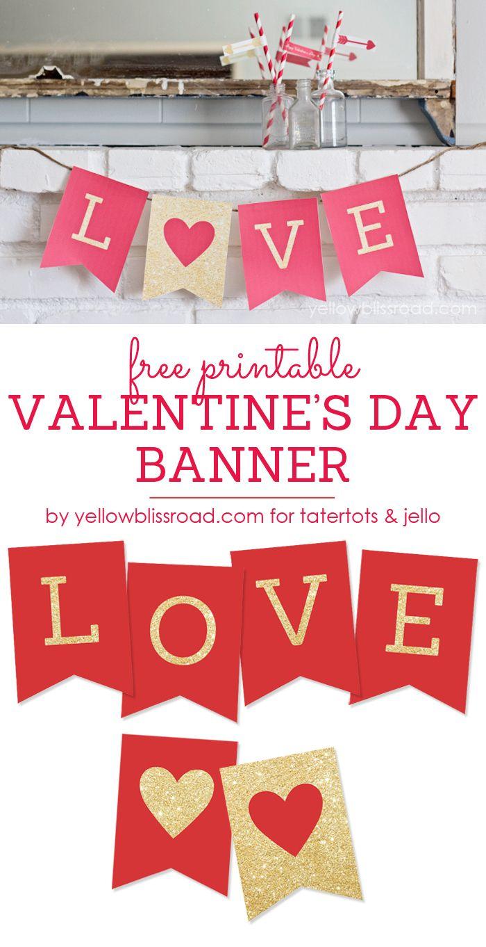 Free Printable Love Valentine's Day Glitter Banner   Valentine's Day - Free Printable Valentine Decorations