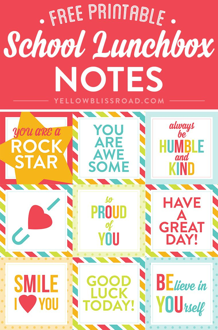 Free Printable Lunch Box Notes | Recognition | Lunch Box Notes - Free Printable Lunchbox Notes