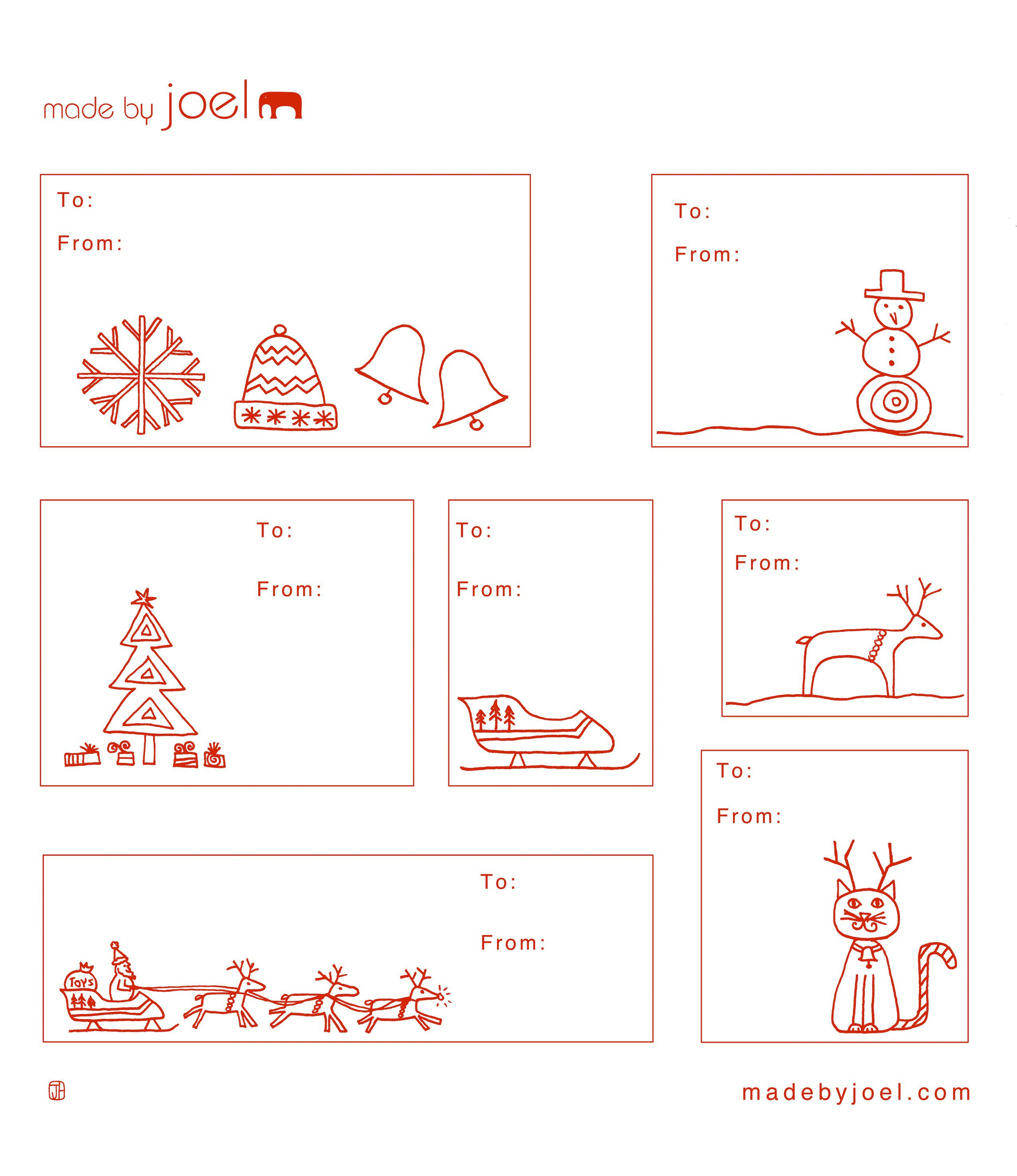 Free Printable: Madejoel » Holiday Gift Tag Templates - Christmas Labels Free Printable Templates