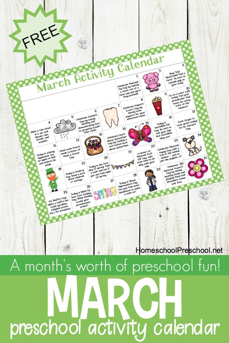 Free Printable March Activity Calendar For Preschoolers | Kid - Free Printable March Activities