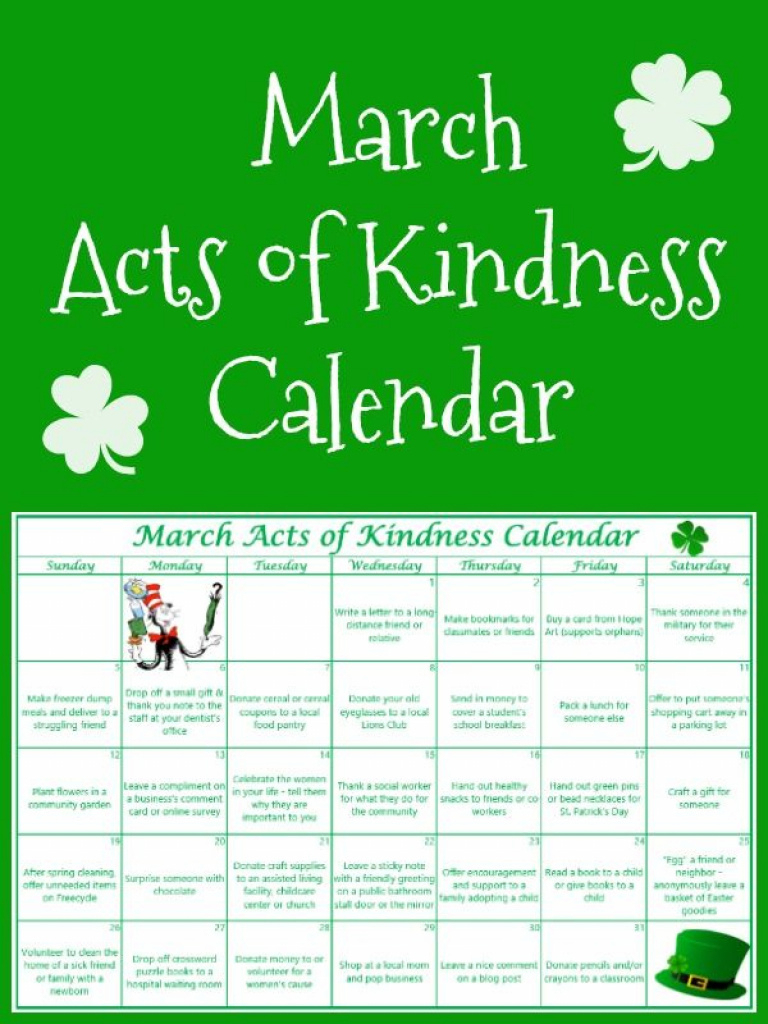 Free Printable March Acts Of Kindness Calendar | 30 Must Follow - Free Printable March Activities