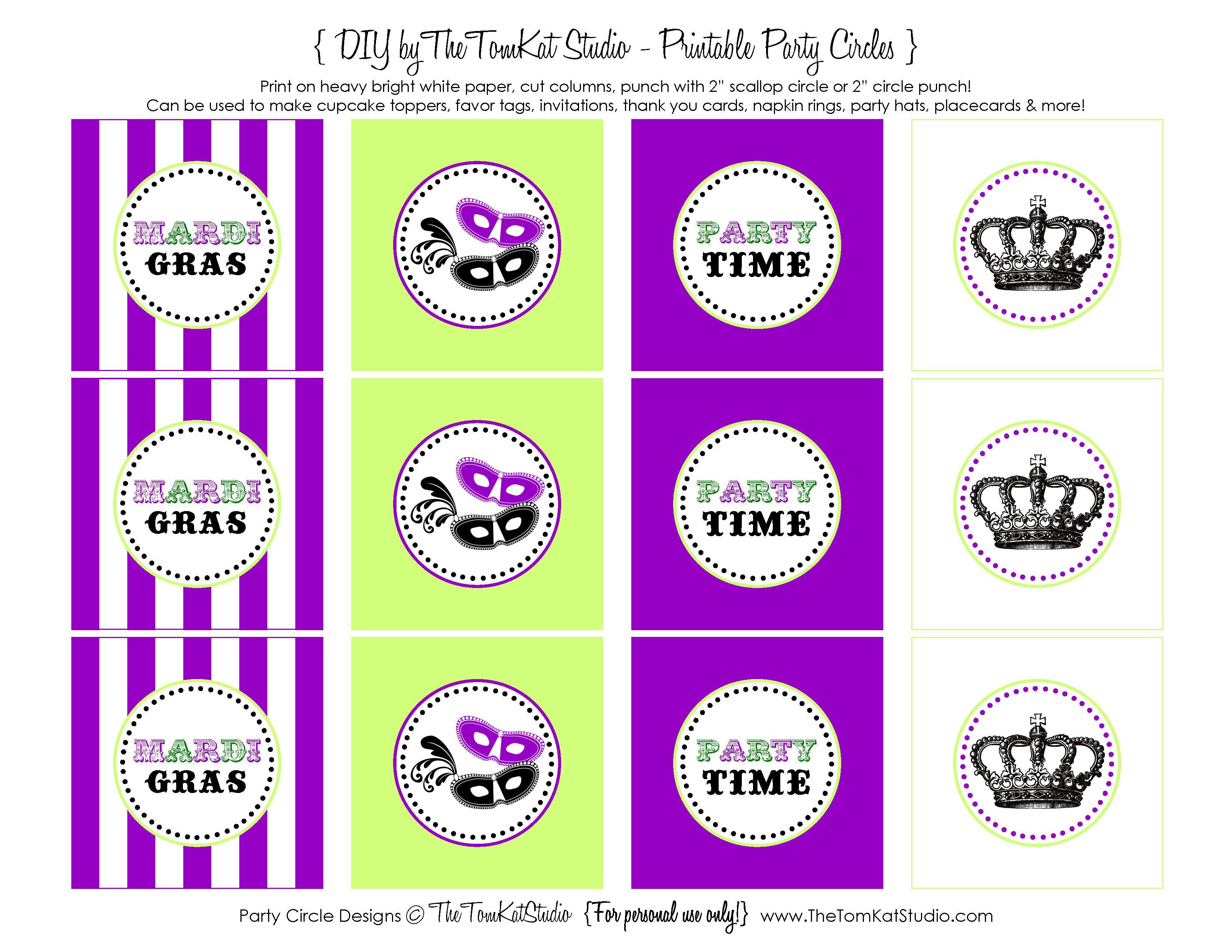 Free Printable} Mardi Gras Party Circles!   The Tomkat Studio Blog - Free Printable Party Circles