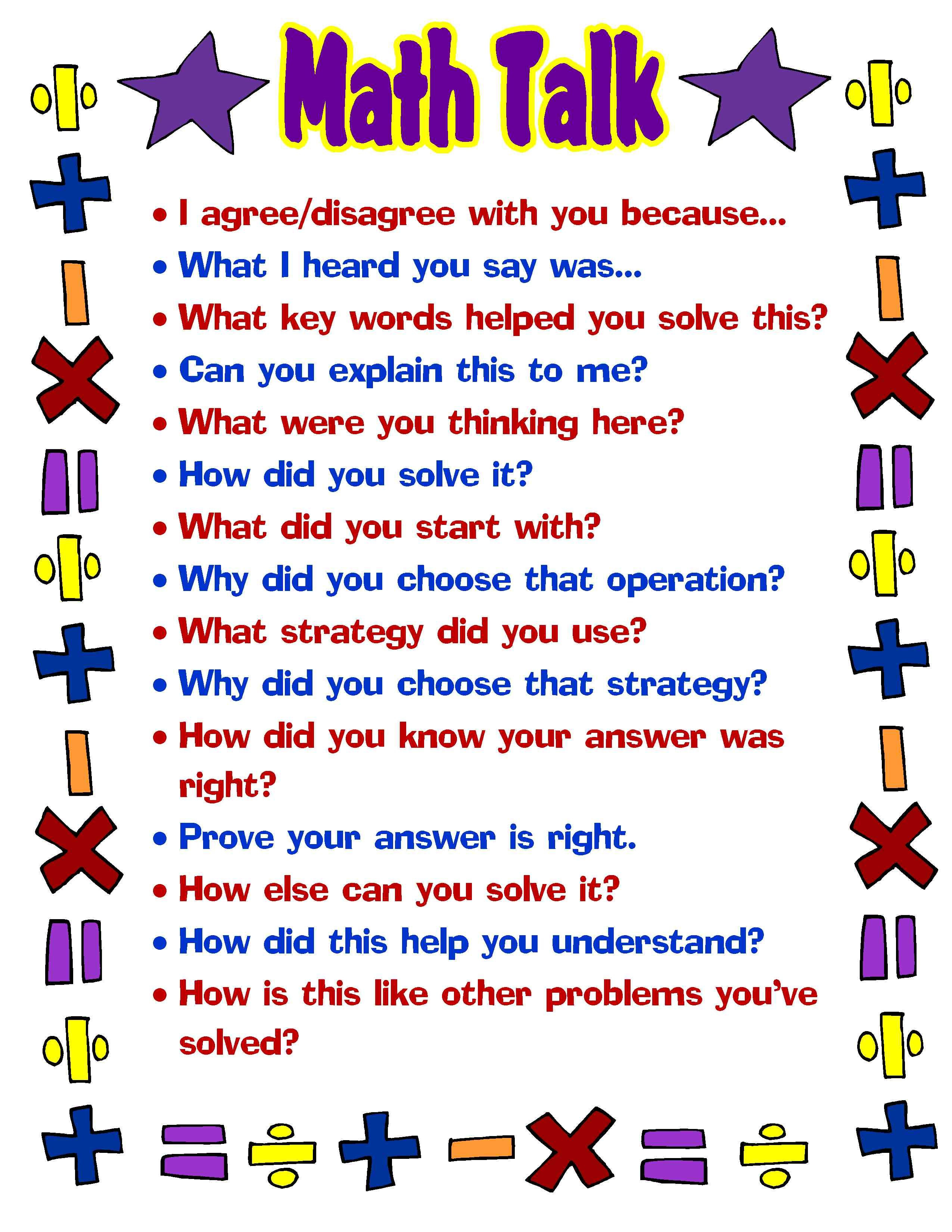 Free Printable #math Talk Poster Great For Students (And Teachers - Free Printable Educational Posters