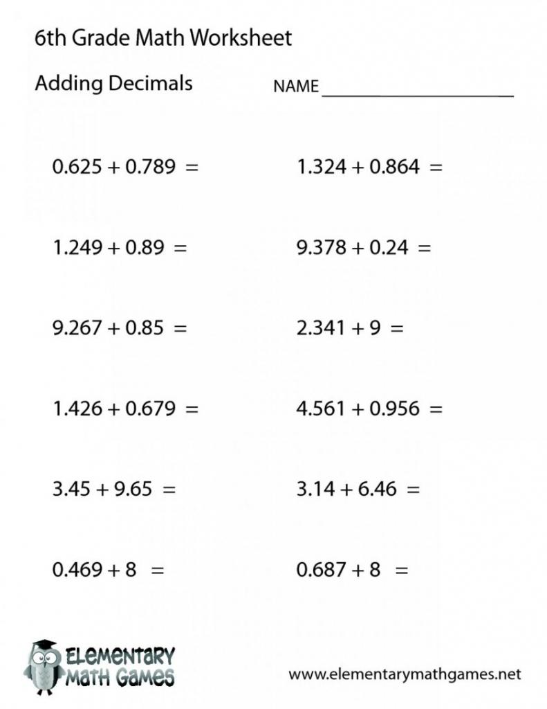 Free Printable Math Worksheets 6Th Grade Order Operations Fun For - Free Printable Math Worksheets For 6Th Grade