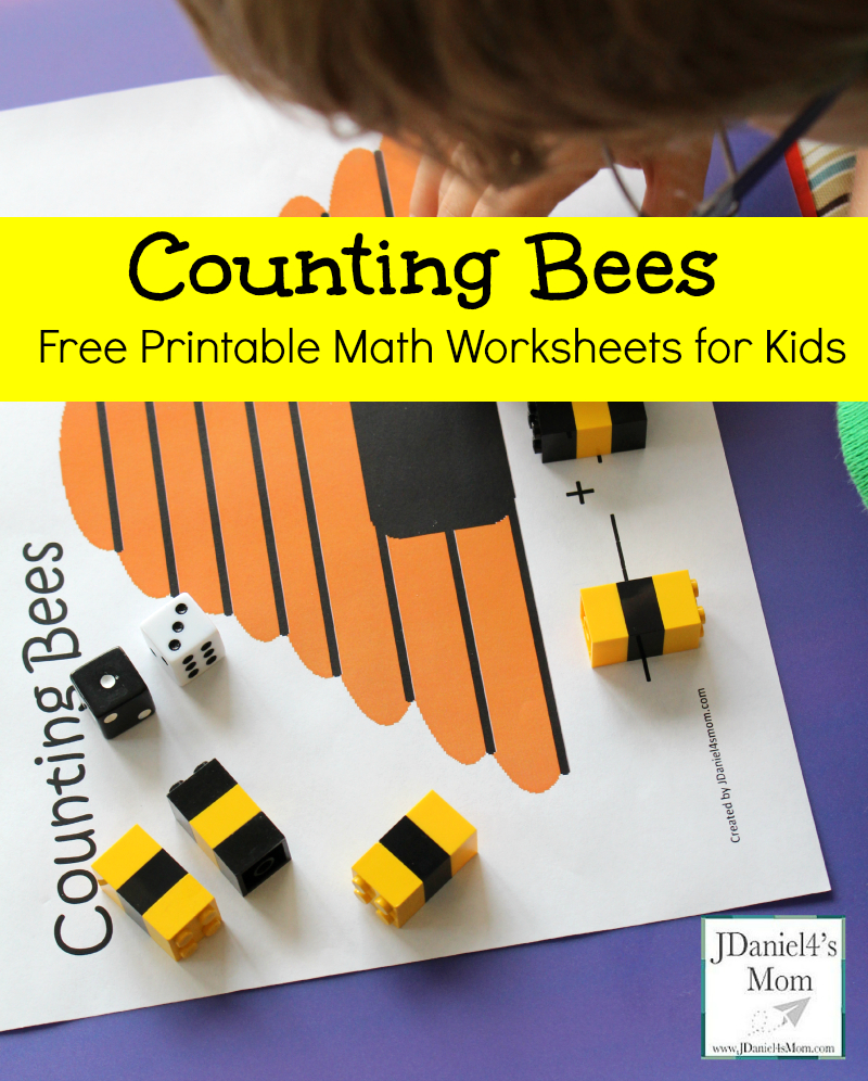 Free Printable Math Worksheets For Kids- Counting Bees - Free Printable Math Worksheets For Kids