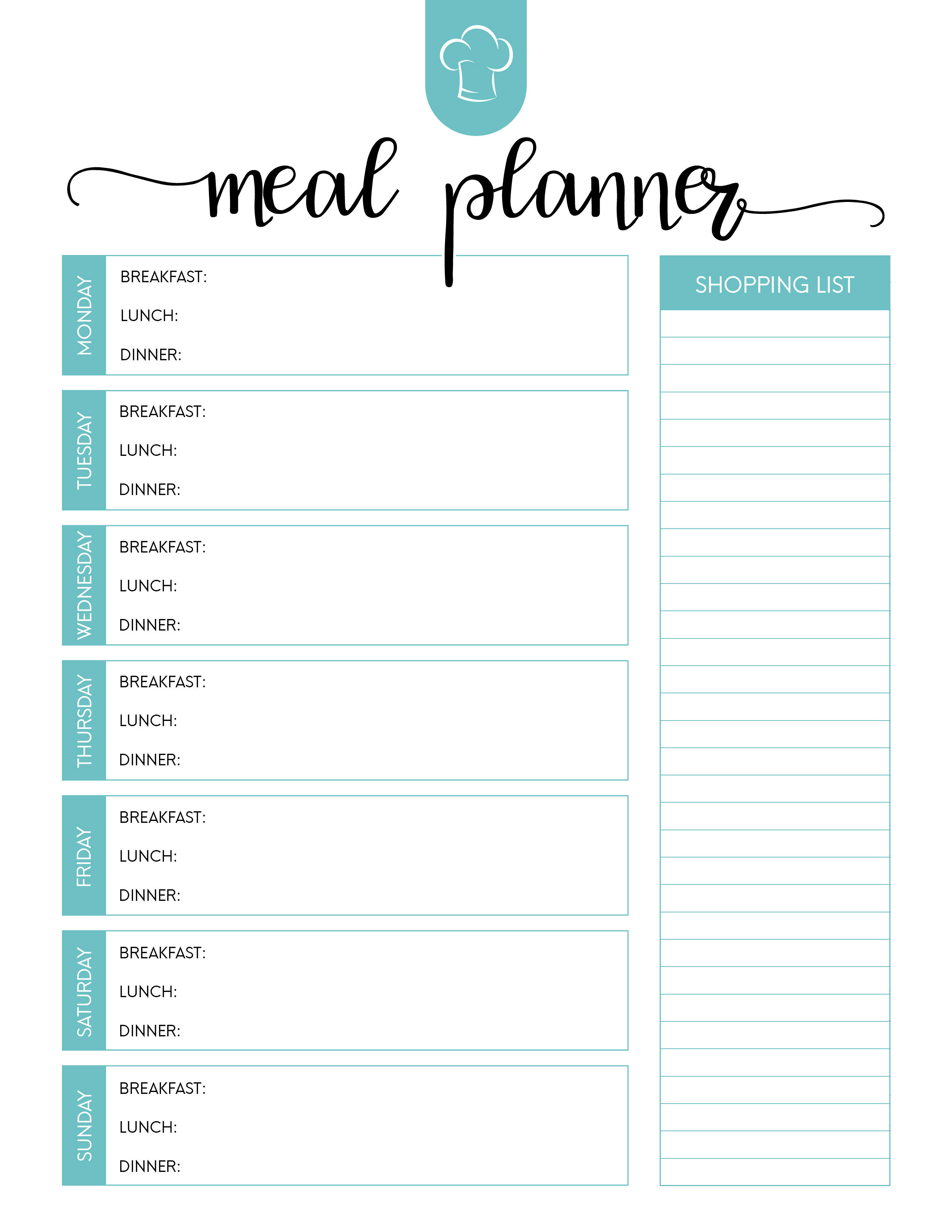 Free Printable Meal Planner Set - The Cottage Market - Free Printable Weekly Meal Planner