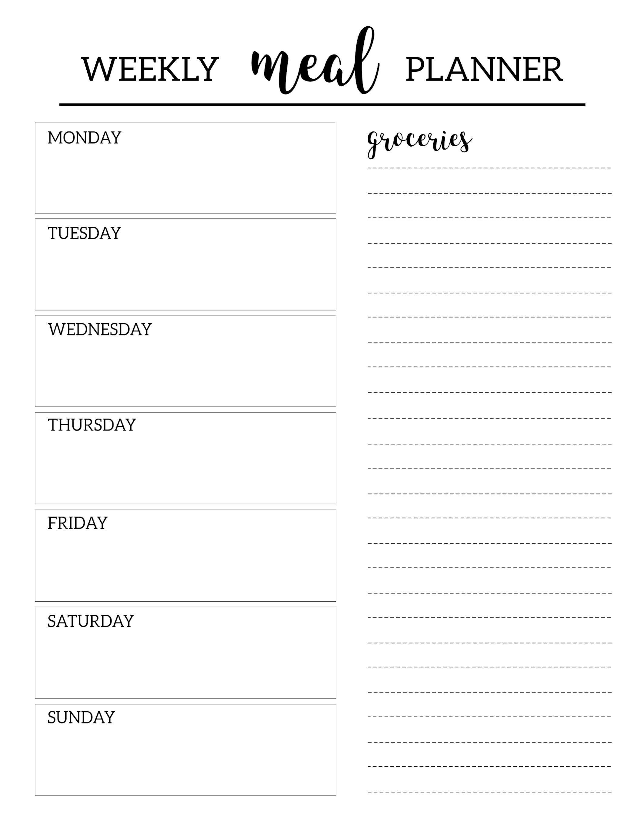 Free Printable Meal Planner Template   Organization   Pinterest - Free Printable Templates