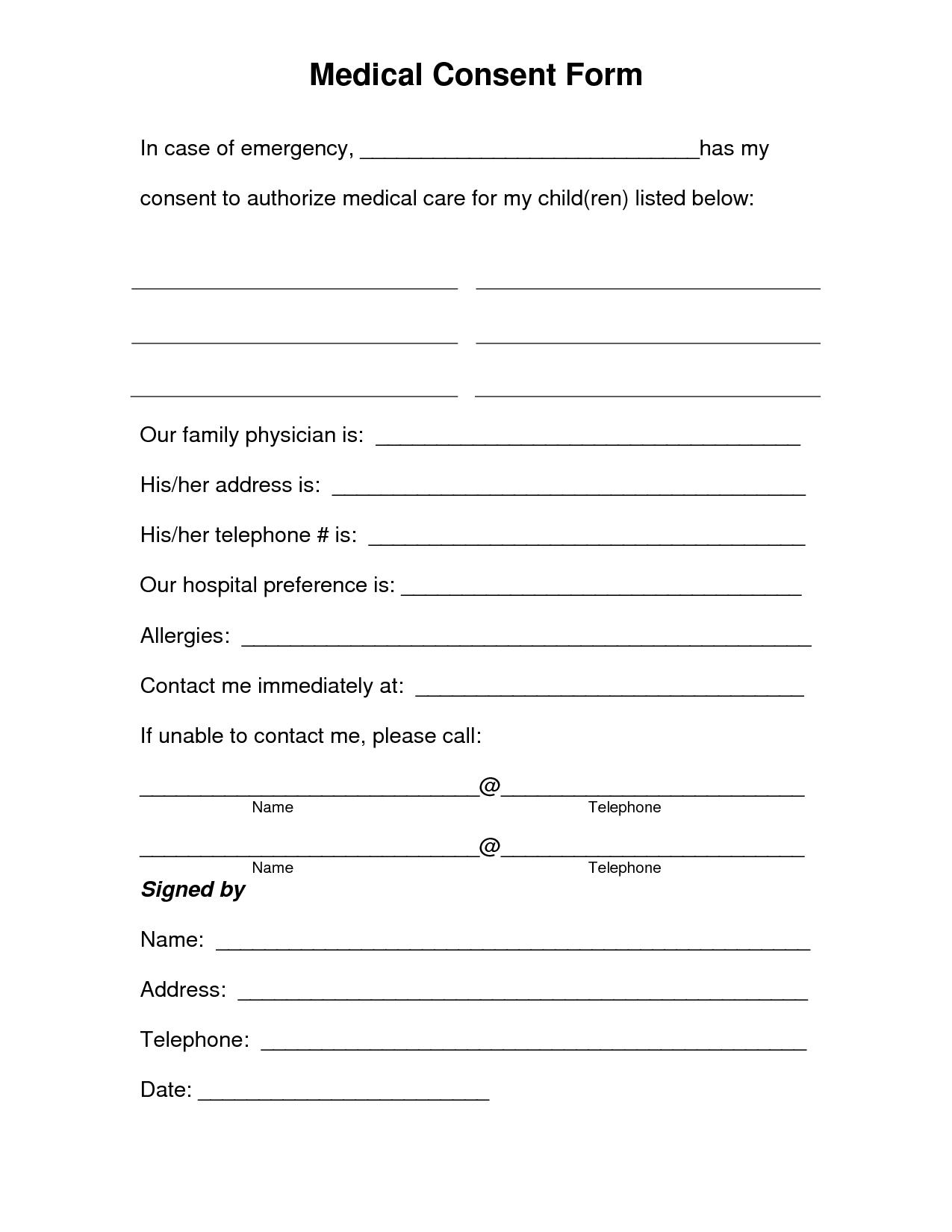 Free Printable Medical Consent Form   Free Medical Consent Form - Free Printable Medical Forms
