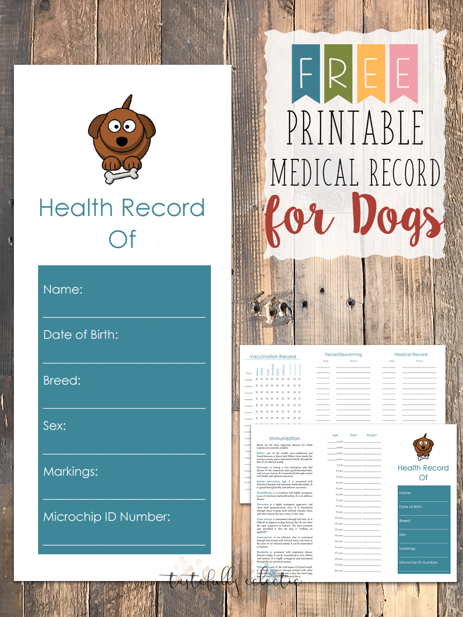 Free Printable Medical Record For Dogs - Tastefully Eclectic - Free Printable Dog Shot Records