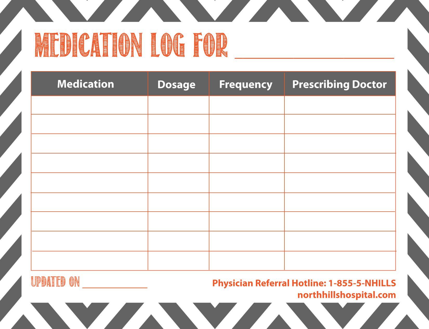 Free Printable: Medication Log | Planner Ideas & Printables - Free Printable Medication Log
