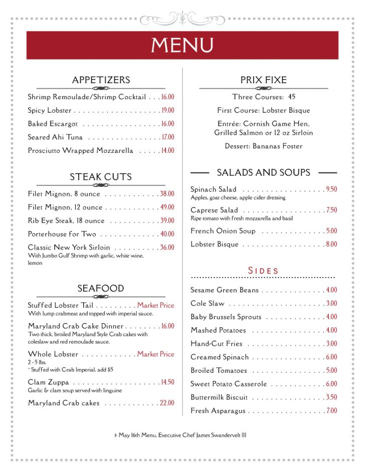Design A Menu For Free Printable