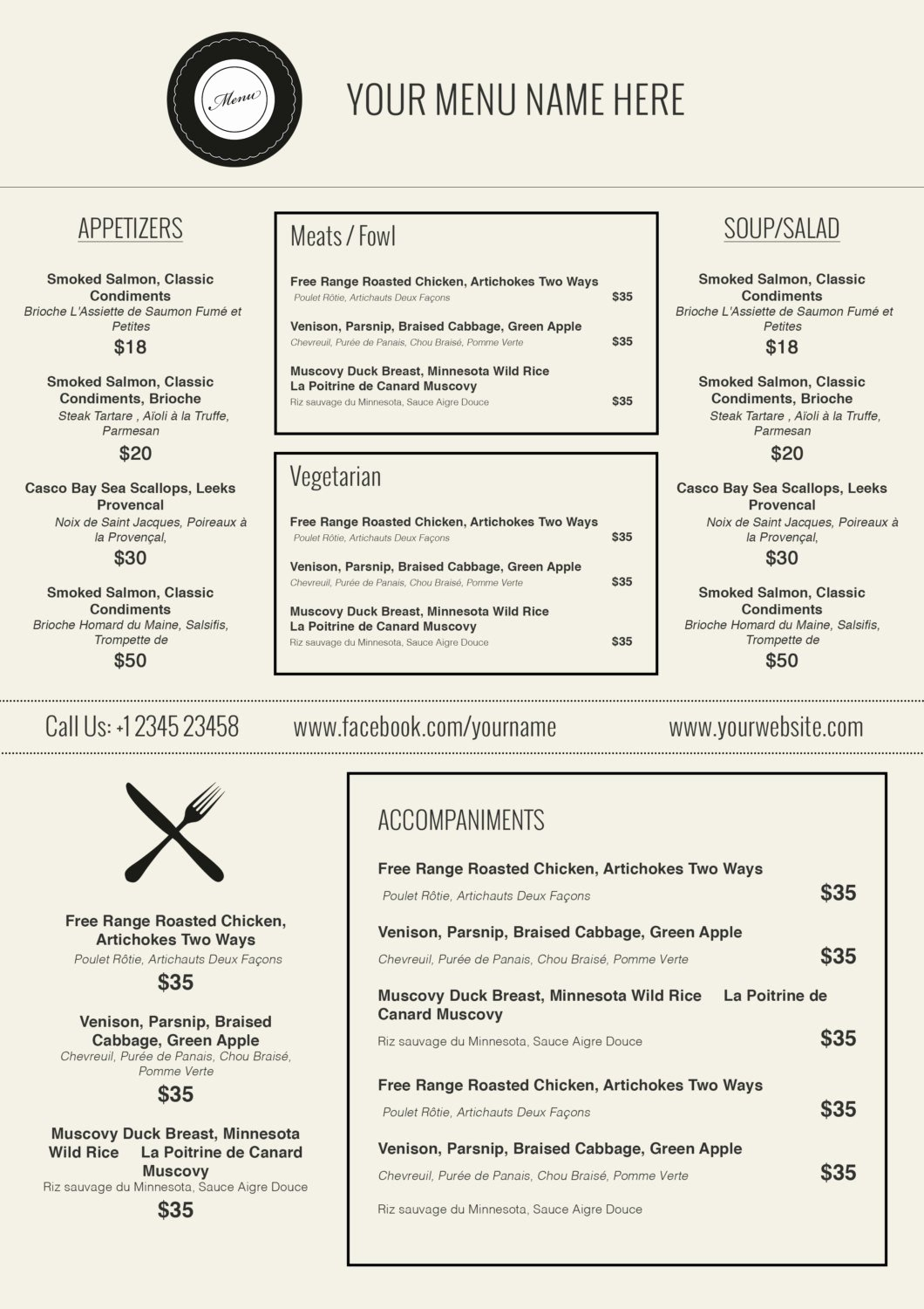 Free Printable Menu Template | Latter Example Template - Free Printable Menu Maker