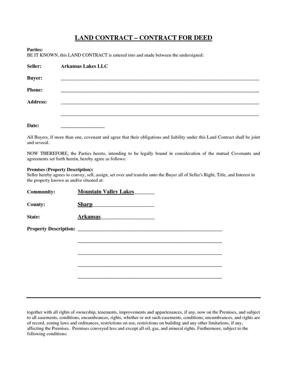 Free Printable Michigan Land Contract Form Pdf #169 - Ocweb - Free Printable Land Contract Forms