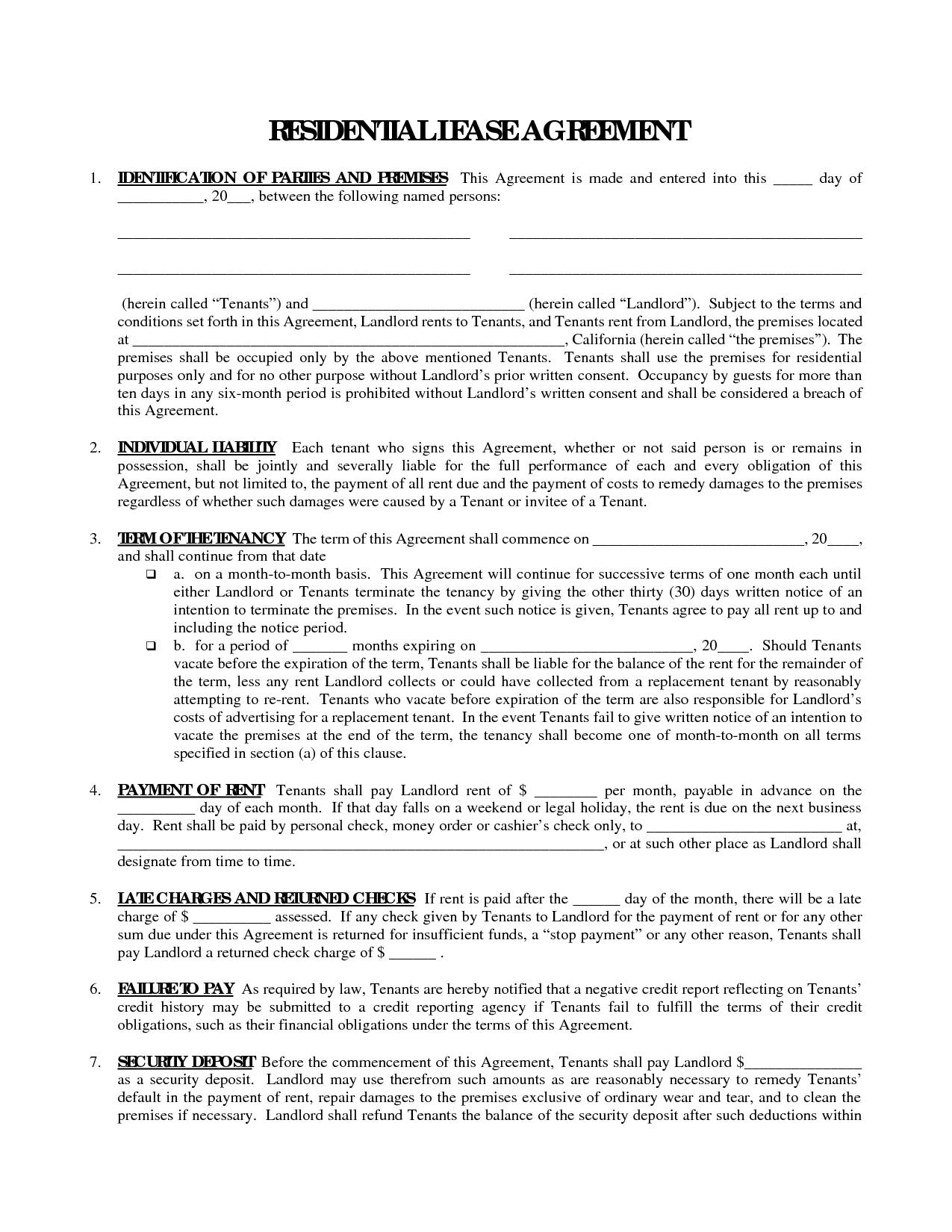 Free Printable Rental Lease Agreement Free Printable Download