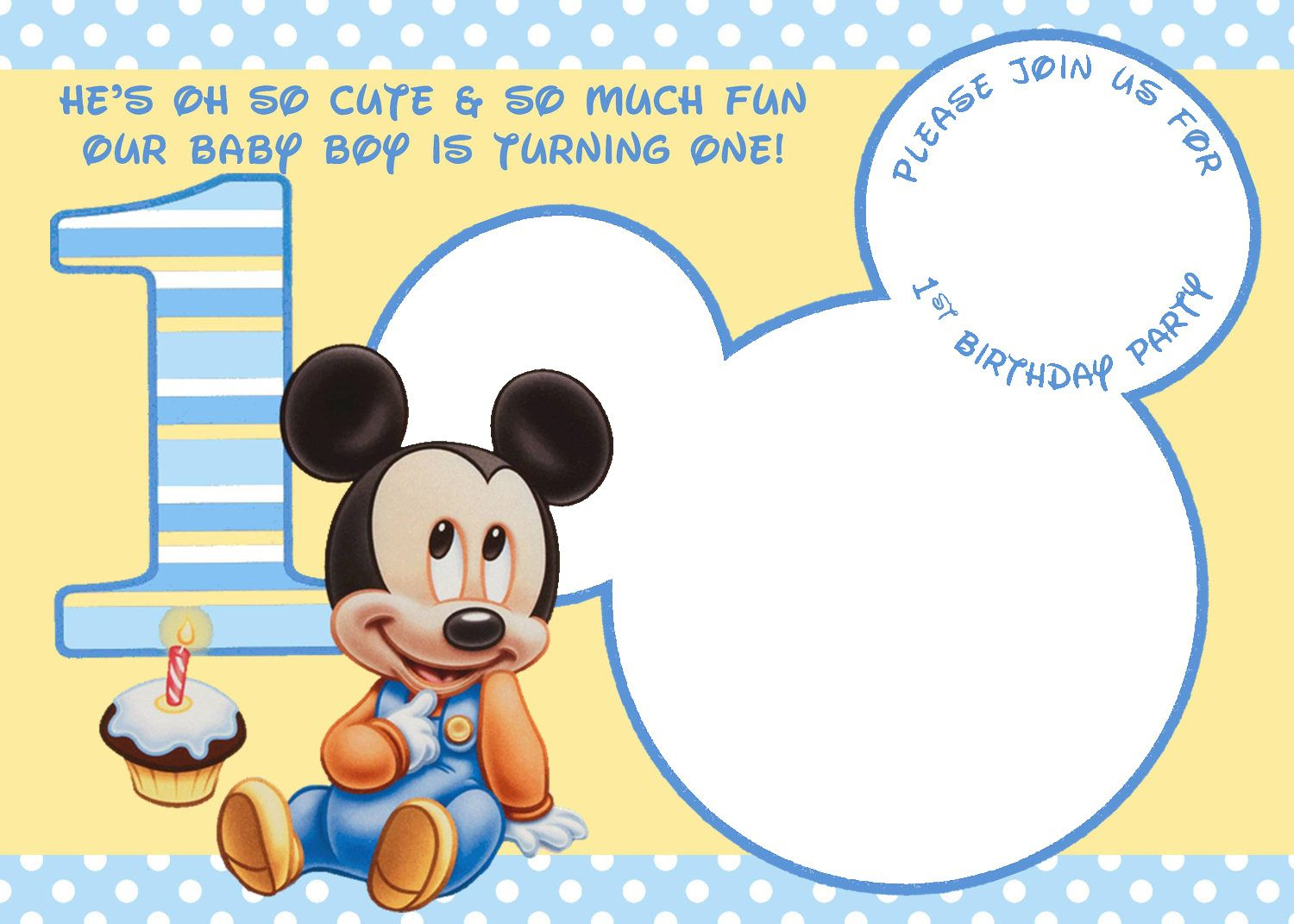 Free Printable Mickey Mouse Invitations - Exclusive | Free - Free Printable Baby Mickey Mouse Birthday Invitations