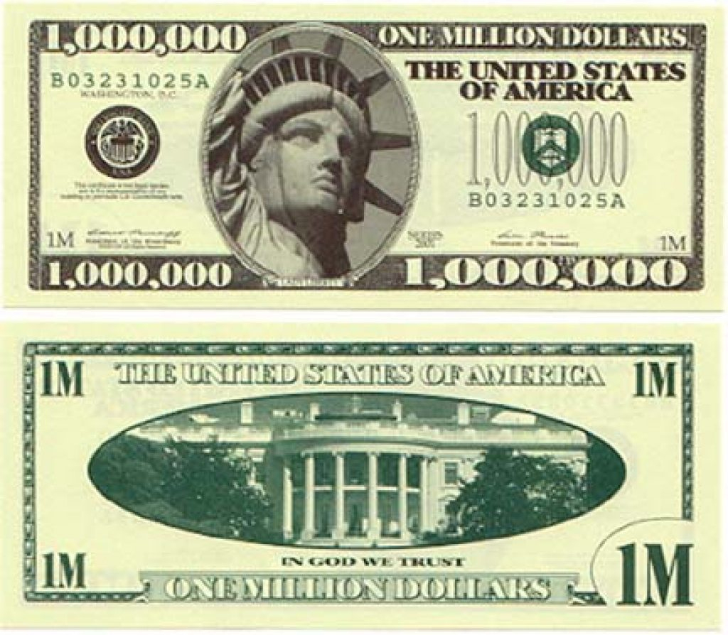Free Printable Million Dollar Bill   Free Printable - Free Printable Million Dollar Bill