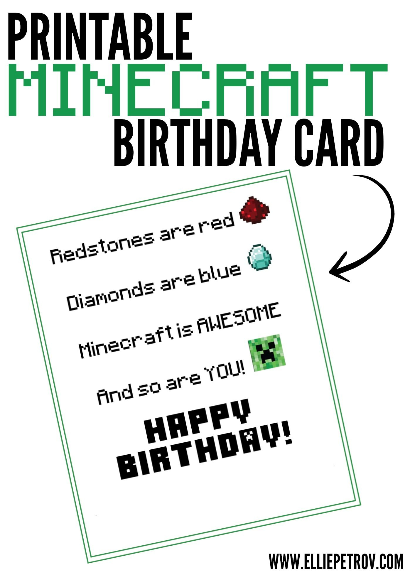 Free Printable Minecraft Birthday Card | Papercrafting | Minecraft - Free Printable Birthday Cards For Dad
