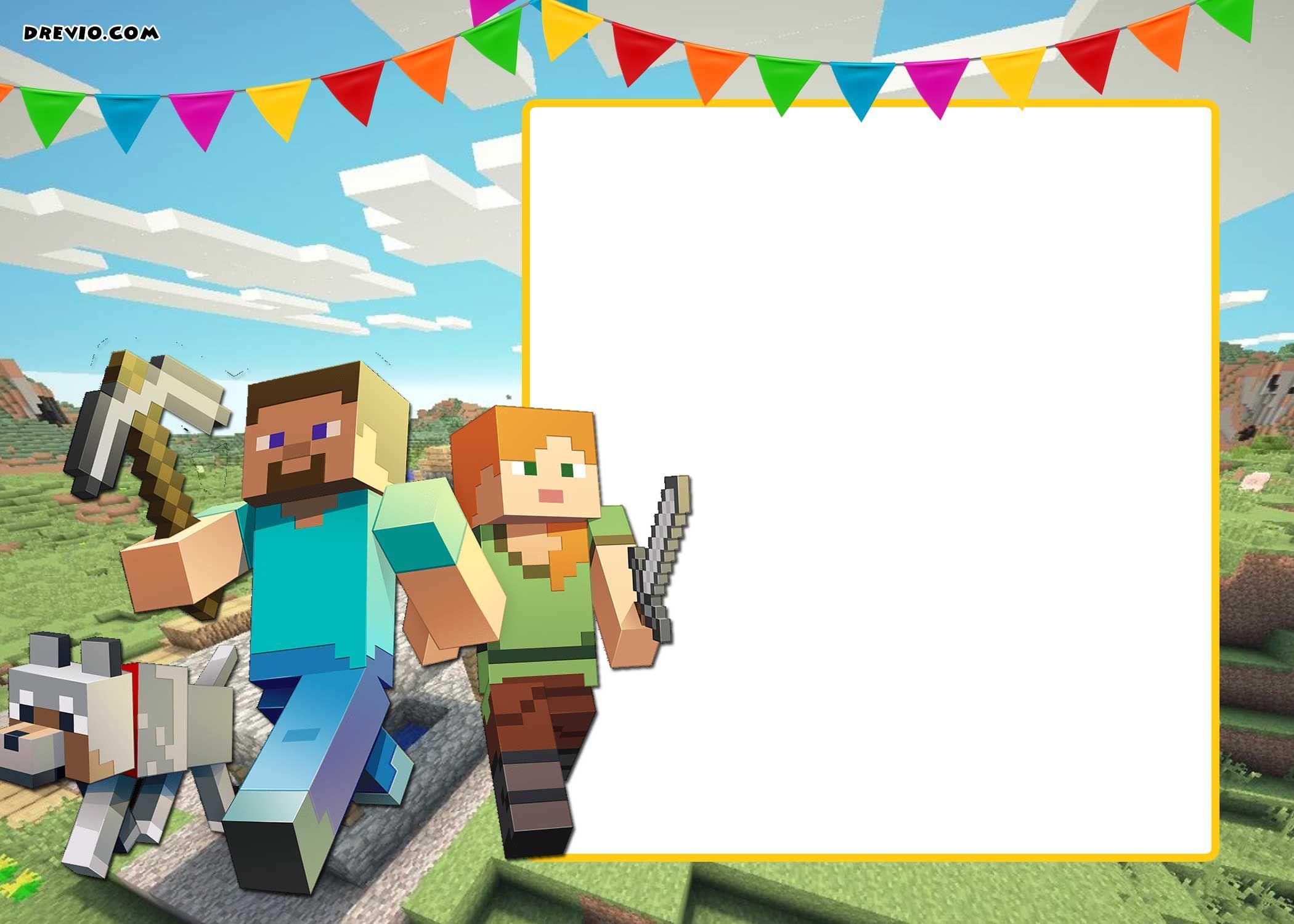 Free Printable Minecraft Birthday Invitation | Free Printable - Free Printable Minecraft Birthday Party Invitations Templates