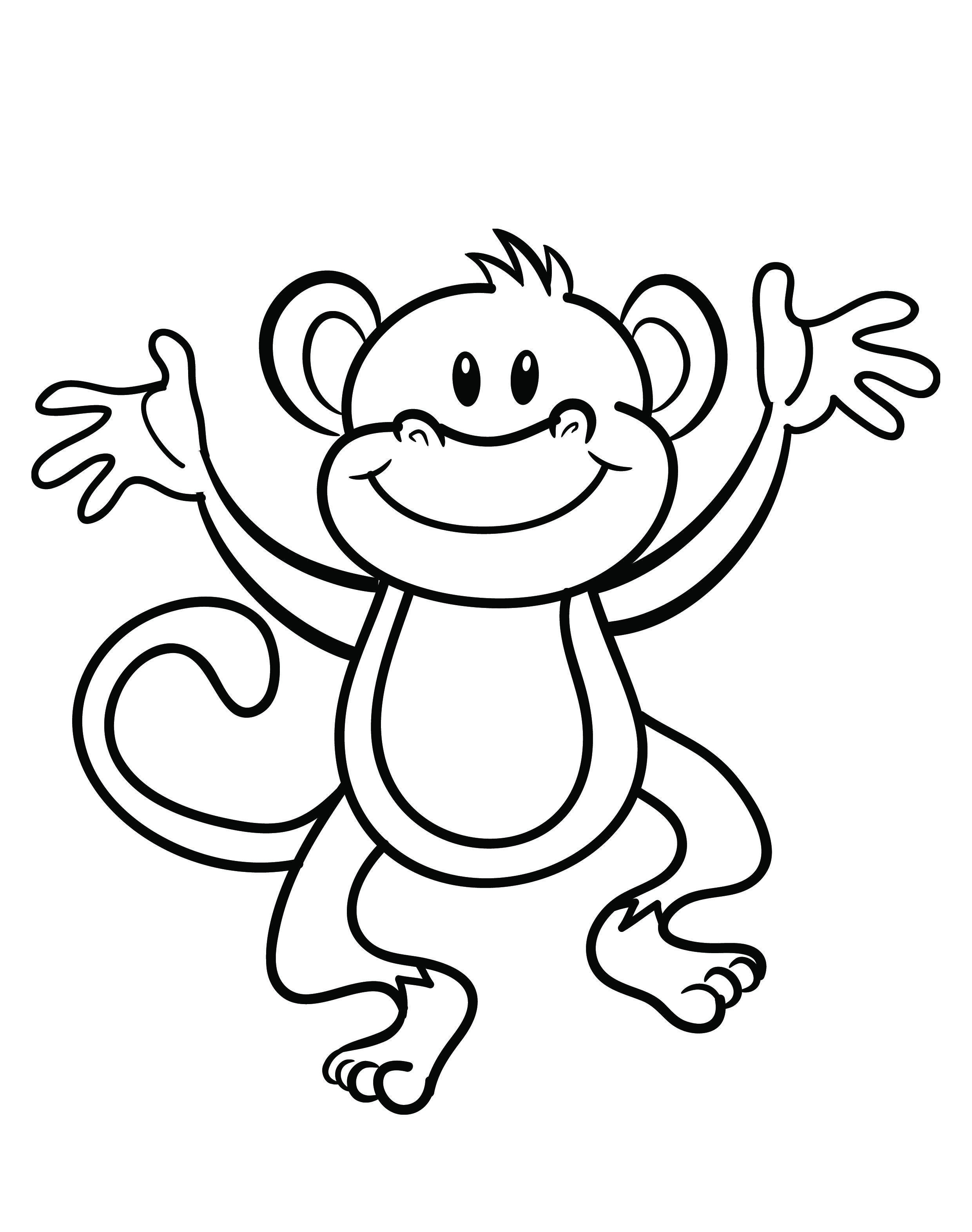 Free Printable Monkey Coloring Page   Cj 1St Birthday   Pinterest - Free Printable Monkey Coloring Pages