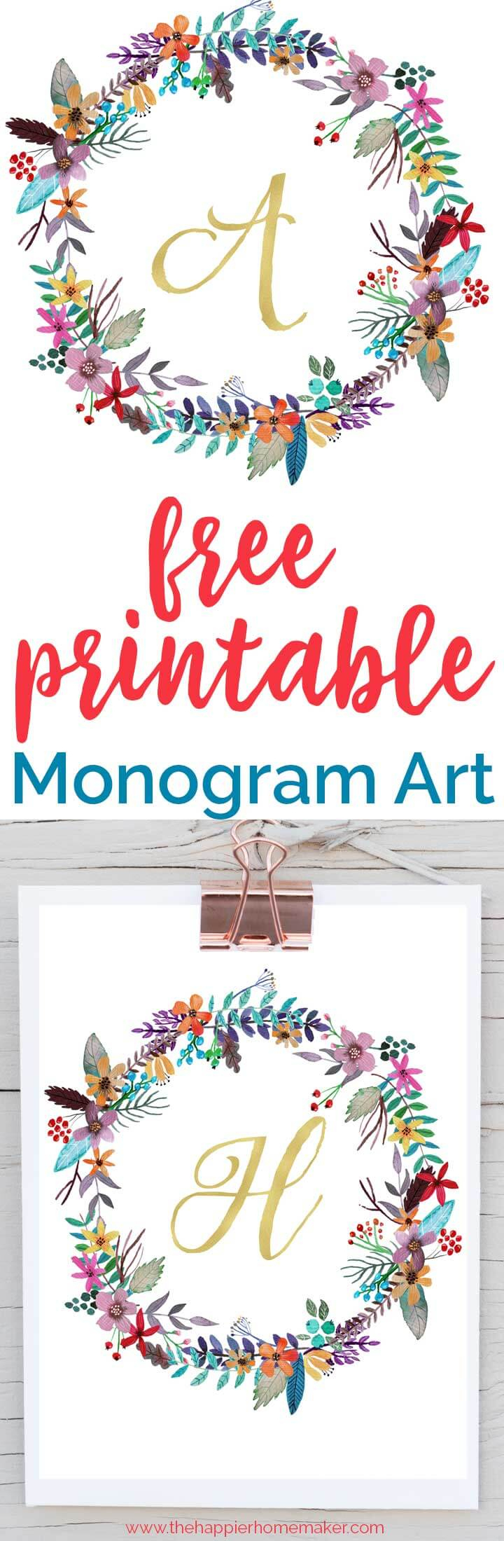 Free Printable Monogram Art   The Happier Homemaker - Free Printable Monogram