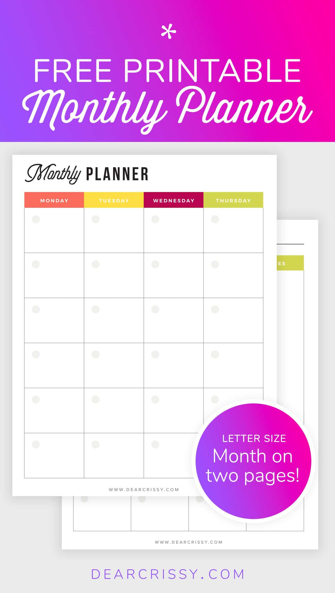 Free Printable Monthly Planner - Month-On-2-Pages Planner - Mo2P - Free Printable Monthly Planner