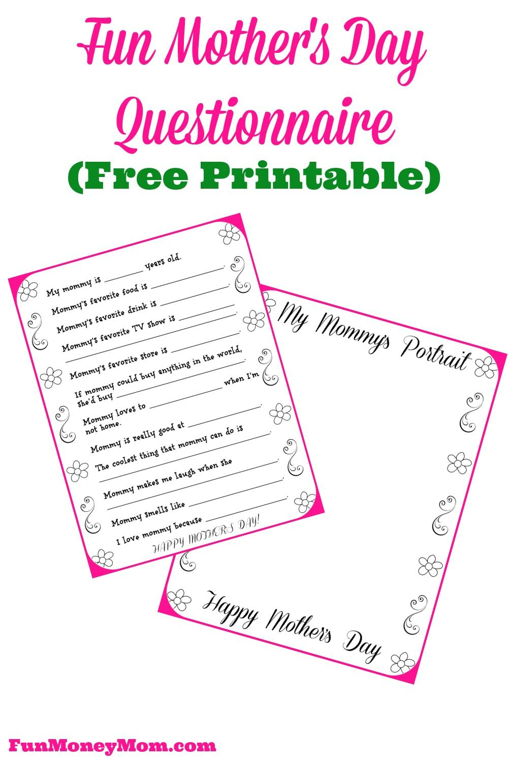 Free Printable Mother's Day Questionnaire & Portrait Page | Best - Free Printable Mothers Day Questions