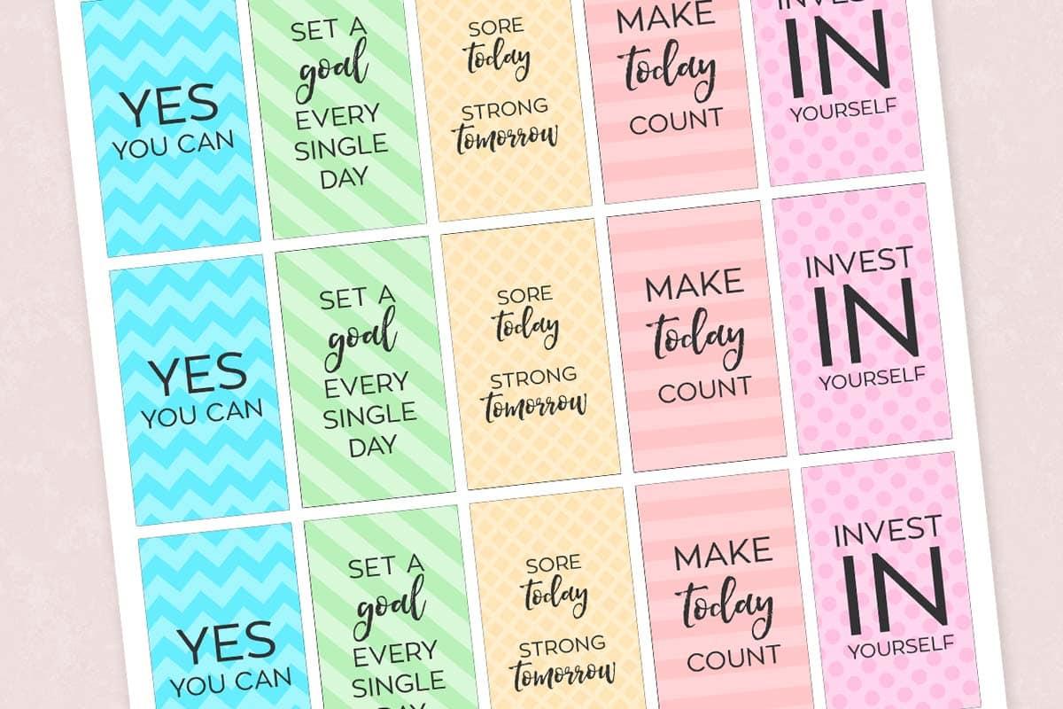 Free Printable Motivational Gym & Fitness Planner Stickers - Free Printable Happy Planner Stickers