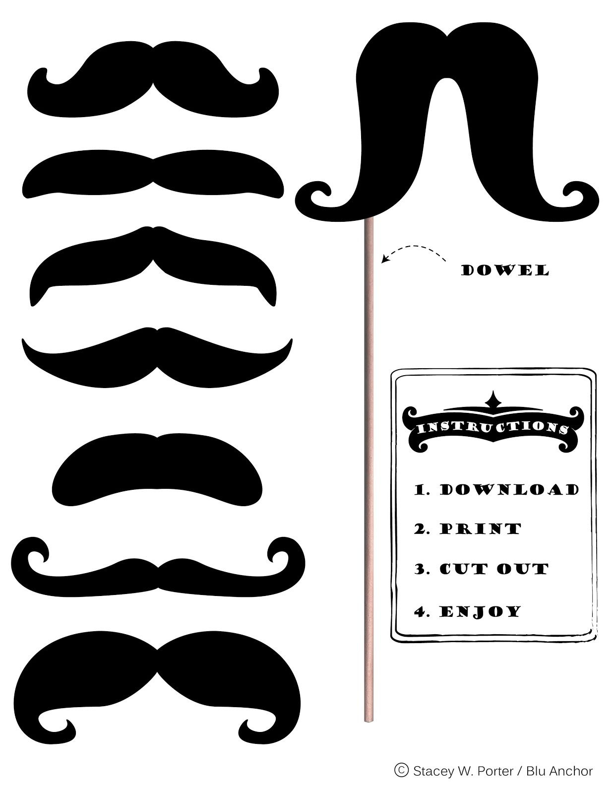 Free Printable Moustache Brigade For #movember | Stacey W. Porter - Free Printable Mustache