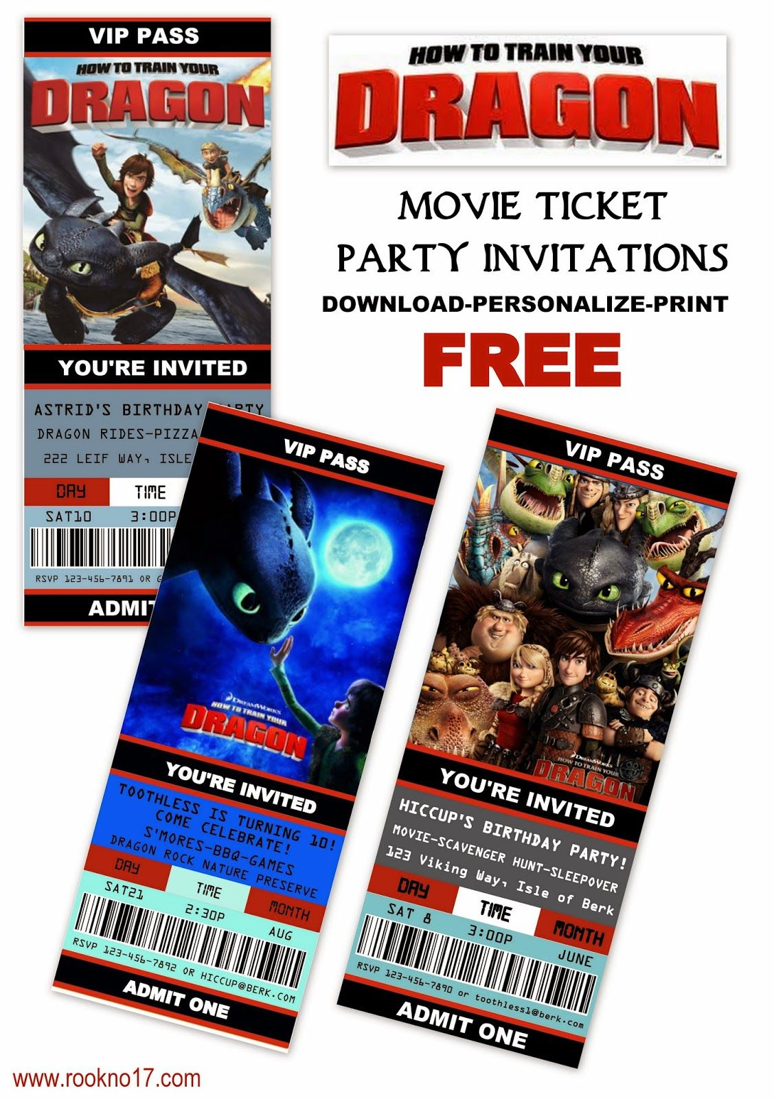 Free Printable Movie Ticket Style Invitations: How To Train Your - How To Train Your Dragon Birthday Invitations Printable Free