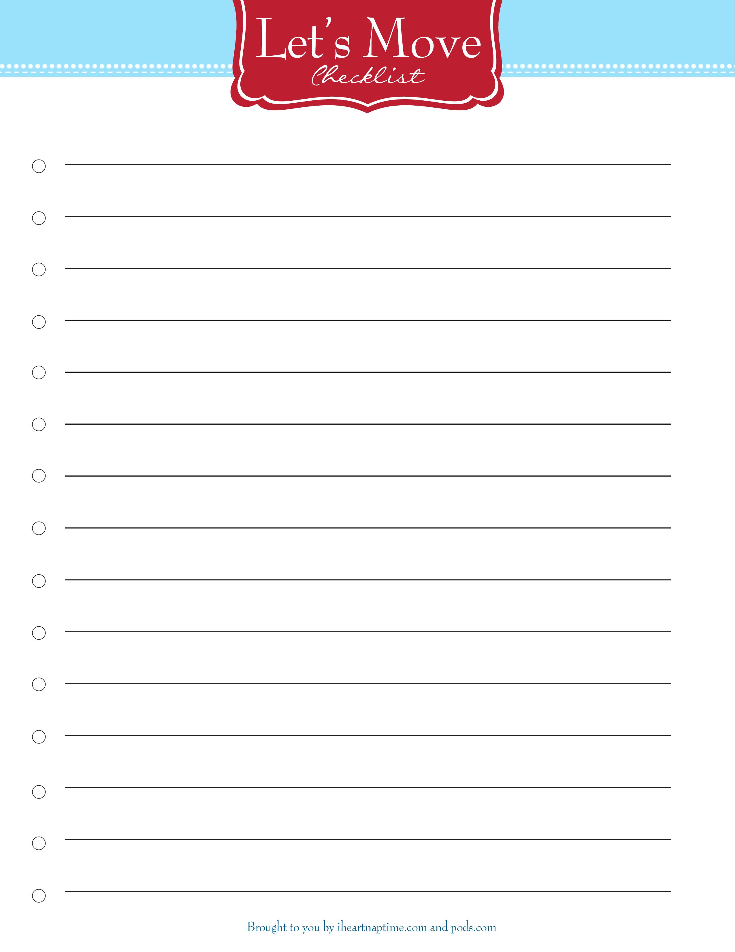 Free Printable Moving Checklist - I Heart Nap Time - Free Printable Checklist