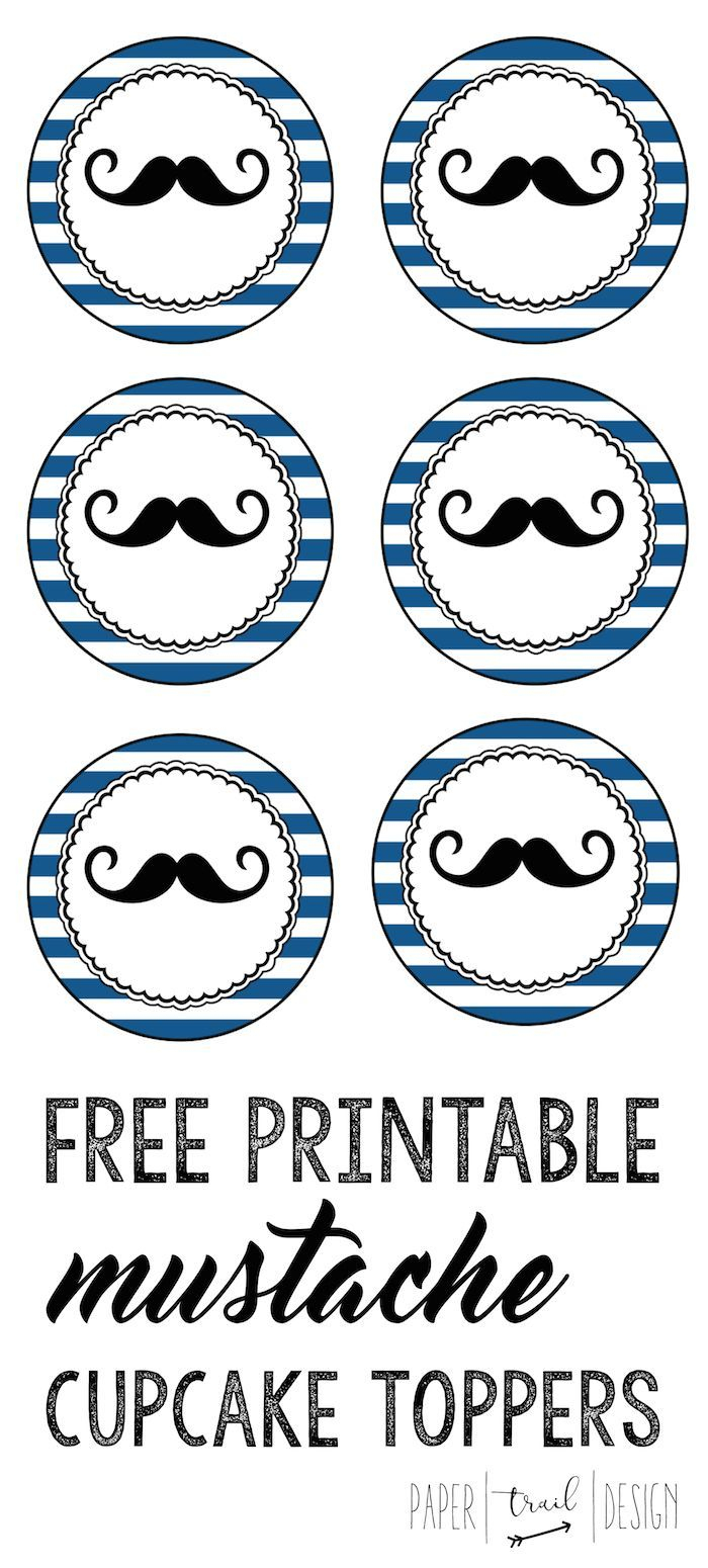 Free Printable Mustache Cupcake Toppers | Printables | Pinterest - Free Printable Mustache