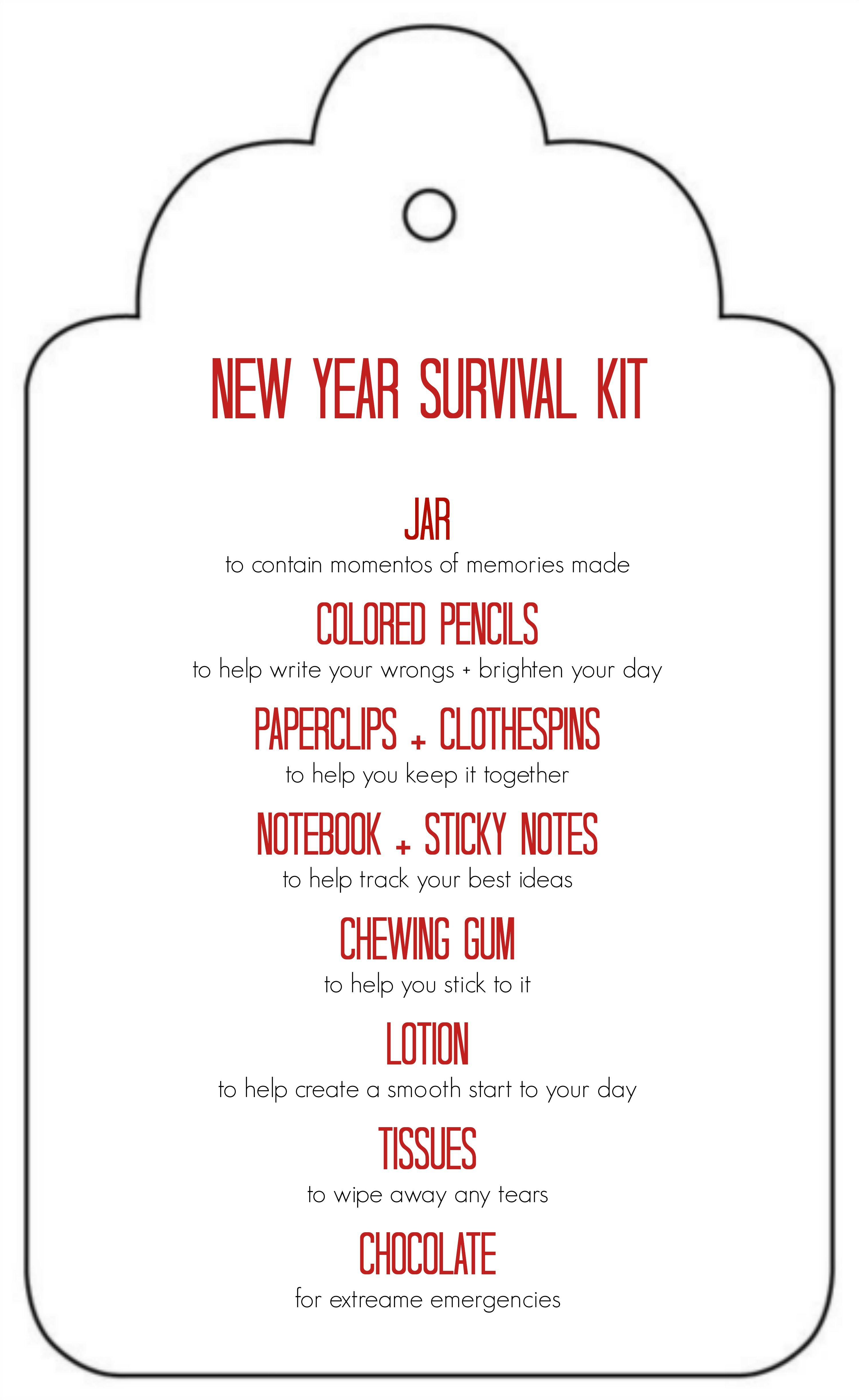 Free Printable: New Year Survival Kit Gift In A Jar - Great Gift - Teacher Survival Kit Free Printable